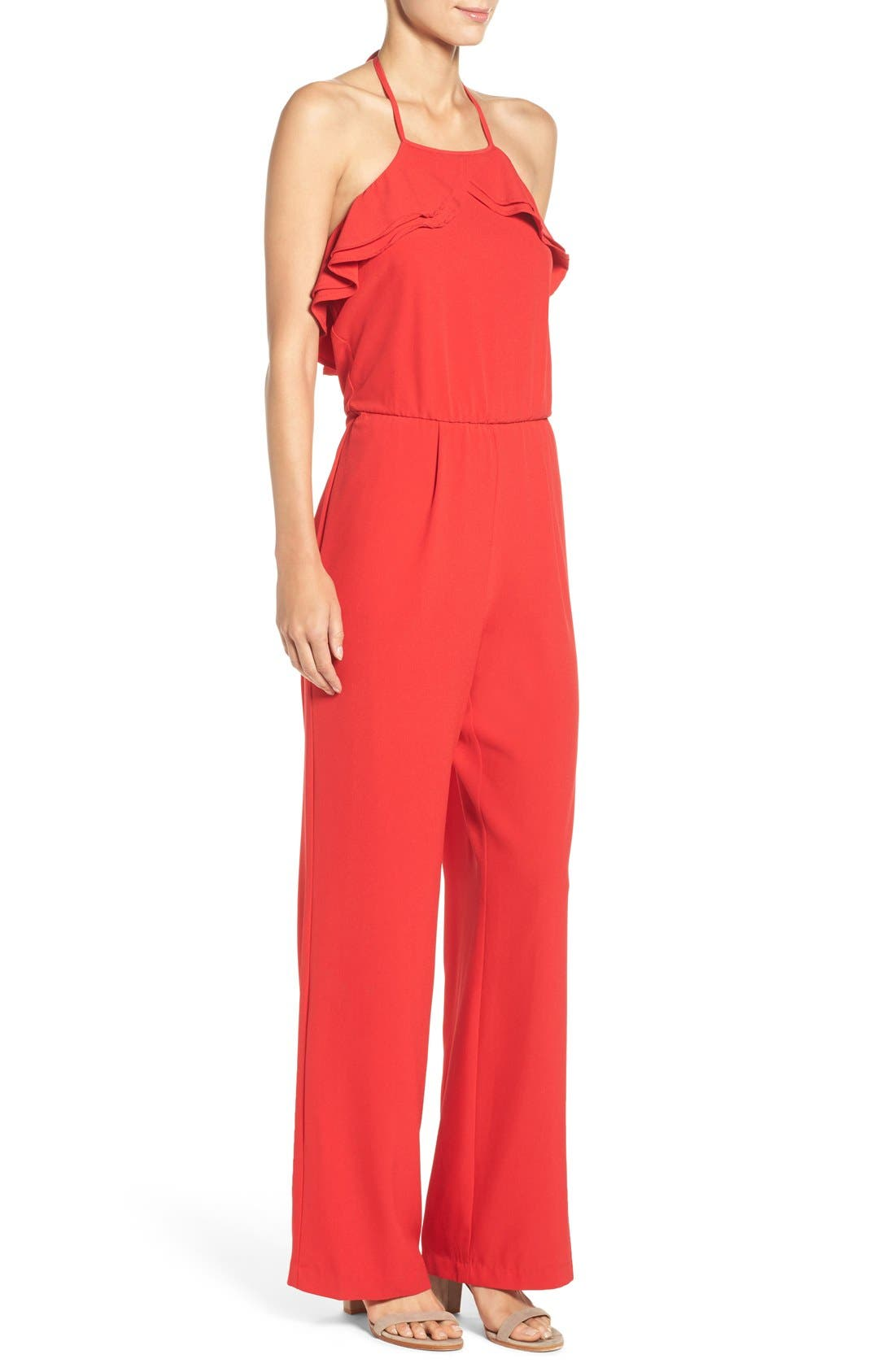 Alternate Image 3  - ECI Ruffle Halter Jumpsuit