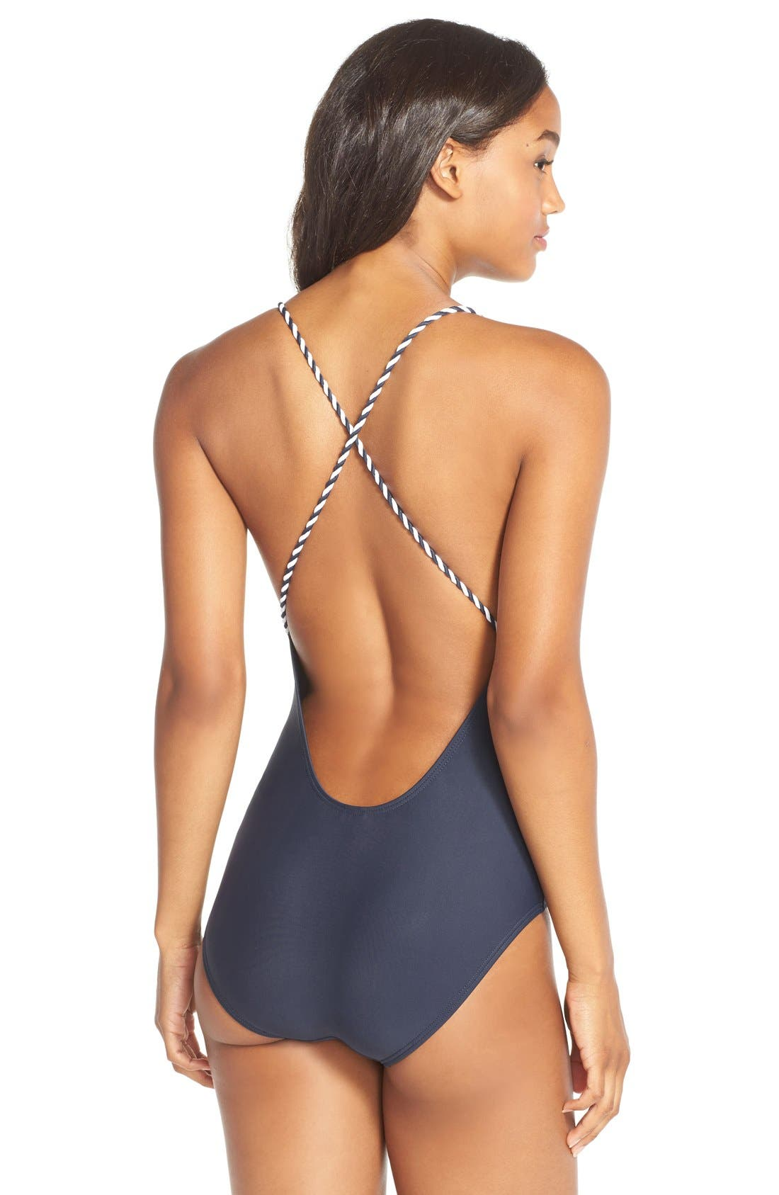 One-Piece Swimsuit,                             Alternate thumbnail 2, color,                             Navy