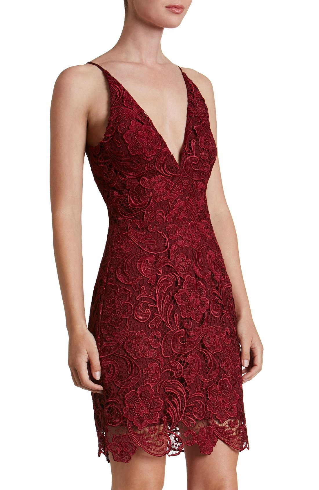 Ava Lace Minidress,                         Main,                         color, Berry