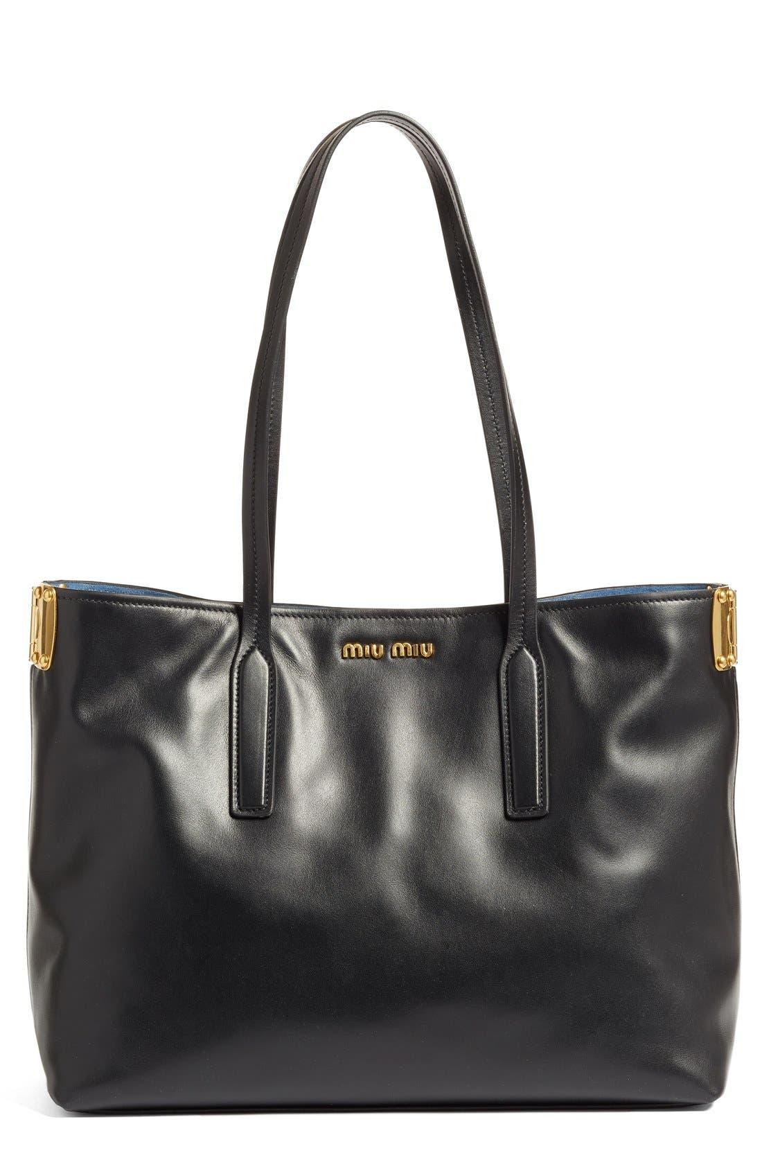 Miu Miu Small Calfskin Leather Shopper