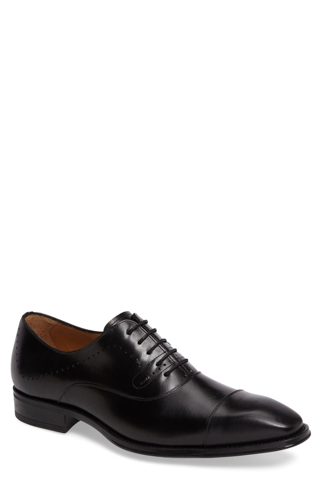 'Fermo' Cap Toe Perforated Oxford,                         Main,                         color, Black