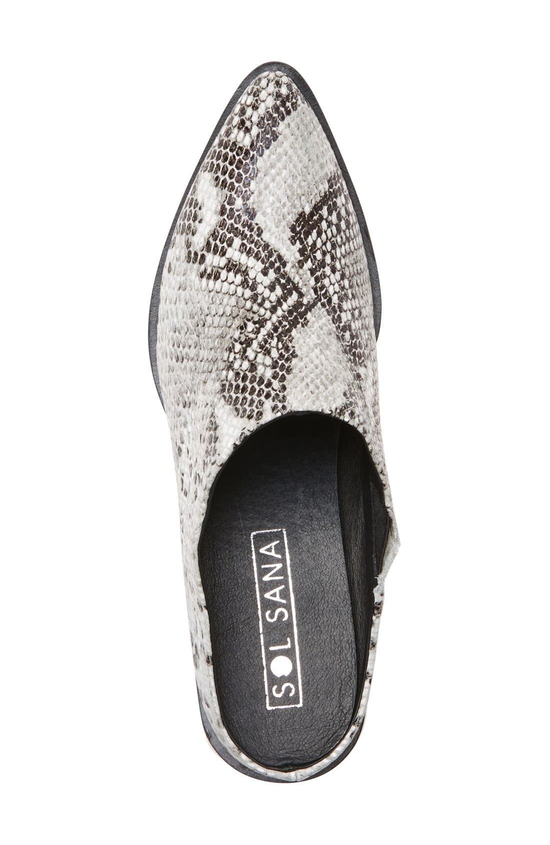 Camille Pointy Toe Mule,                             Alternate thumbnail 3, color,                             Natural Snake Print Leather
