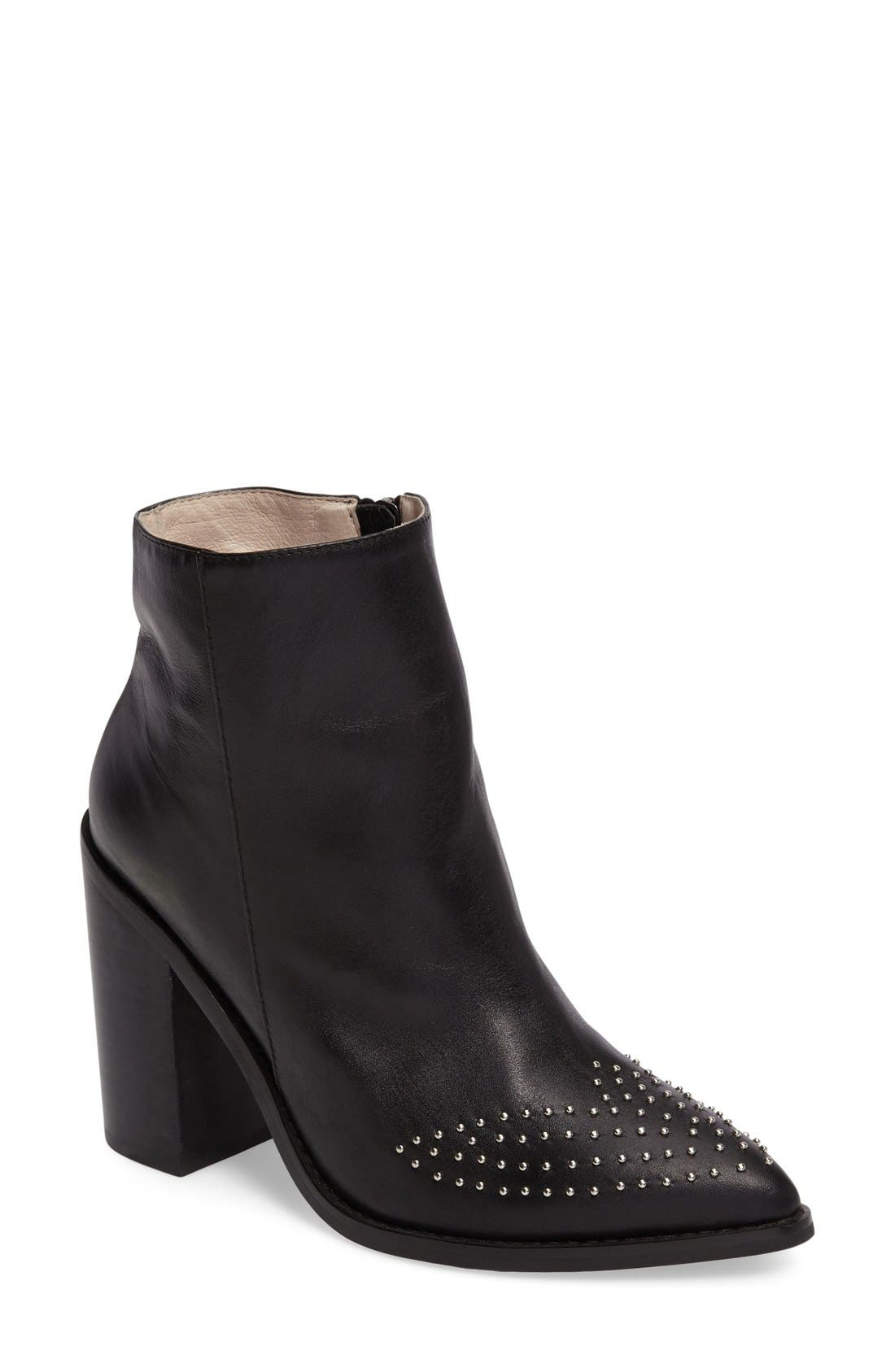 Joan Bootie,                             Main thumbnail 1, color,                             Black Leather