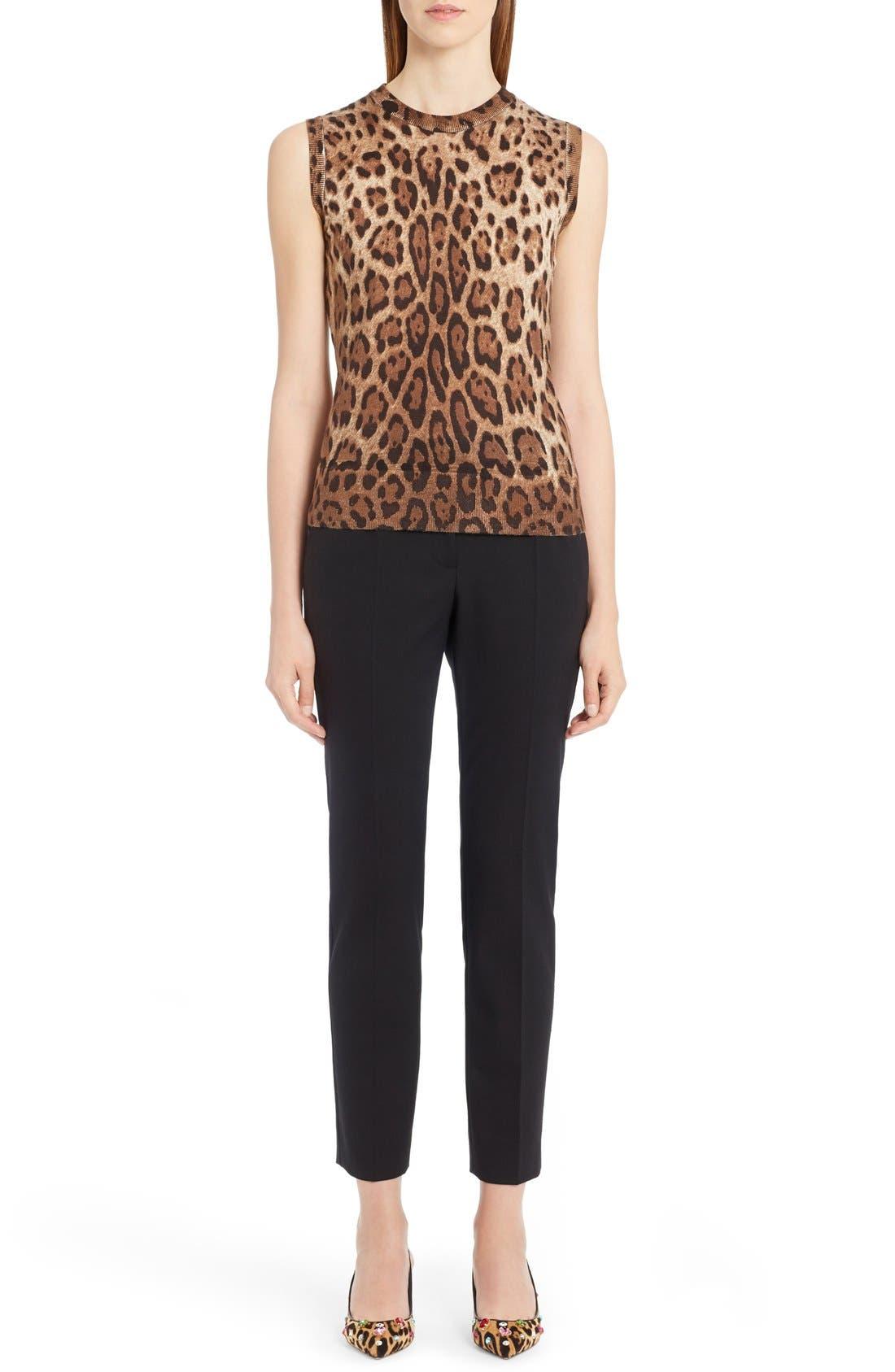 Alternate Image 6  - Dolce&Gabbana Leopard Print Silk & Cashmere Sweater