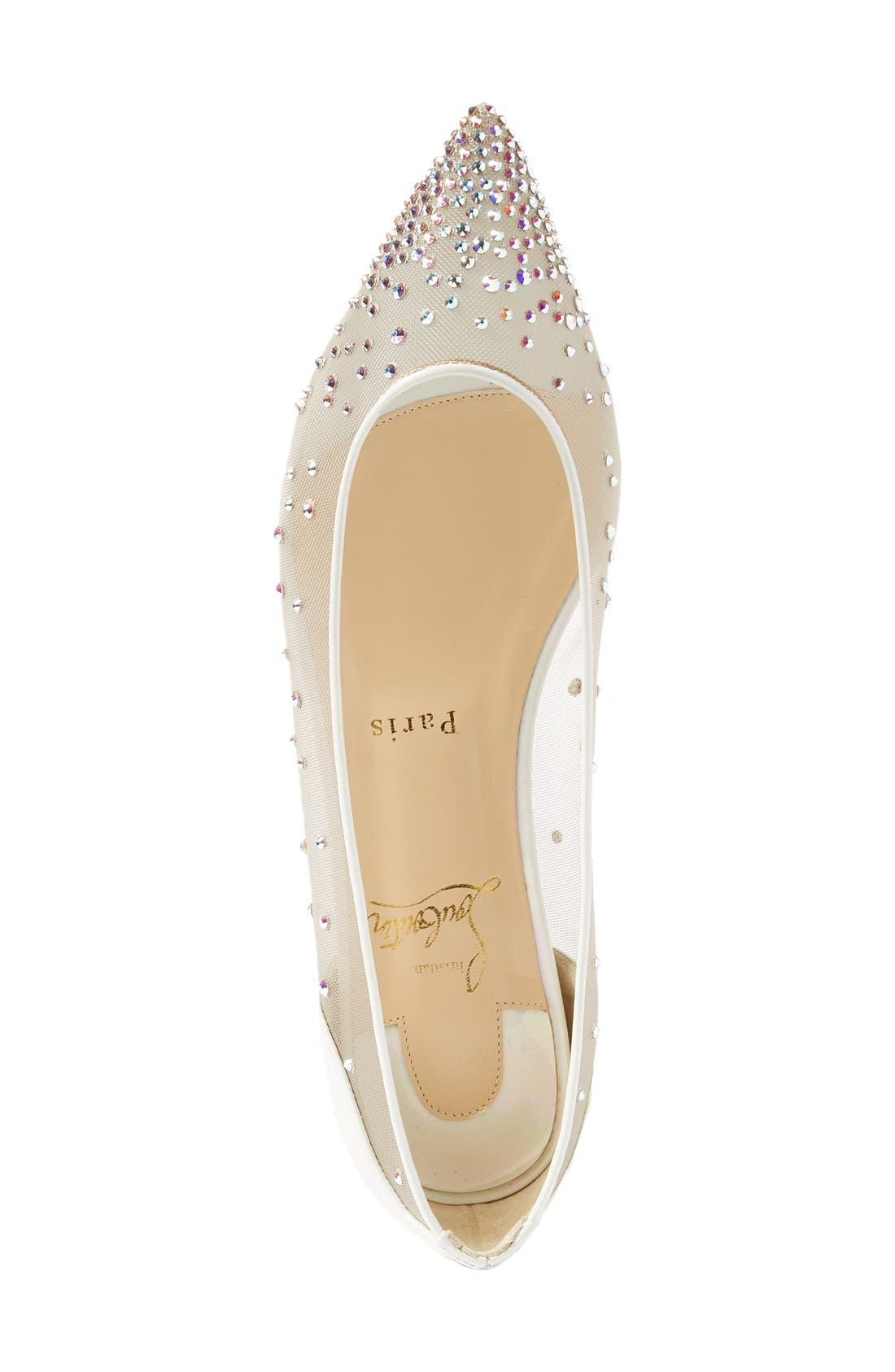 Follies Strass Pointy Toe Flat,                             Alternate thumbnail 3, color,                             White