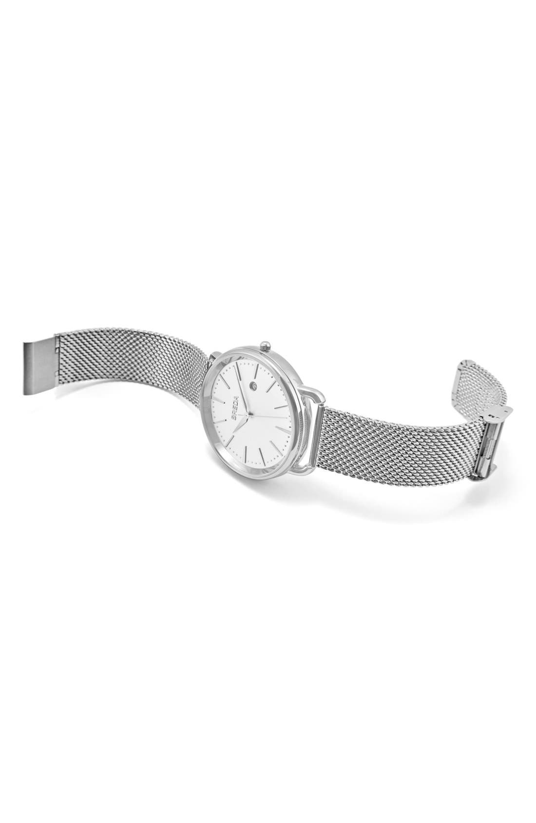Linx Round Mesh Strap Watch, 42mm,                             Alternate thumbnail 3, color,                             Silver/ Silver