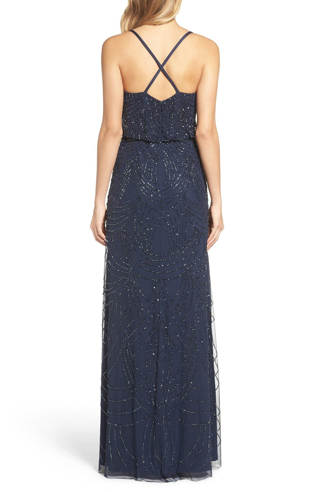 Beaded Chiffon Blouson Gown,                             Alternate thumbnail 2, color,                             Navy