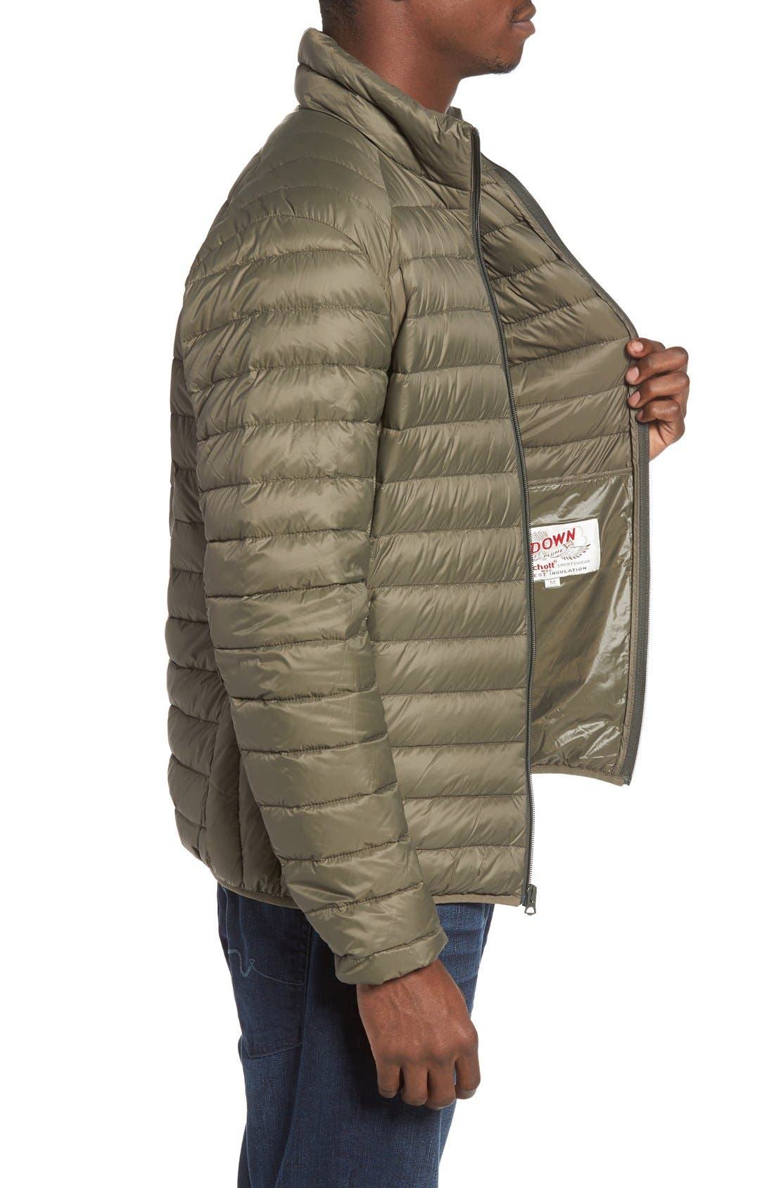 Quilted Down Jacket,                             Alternate thumbnail 3, color,                             Olive