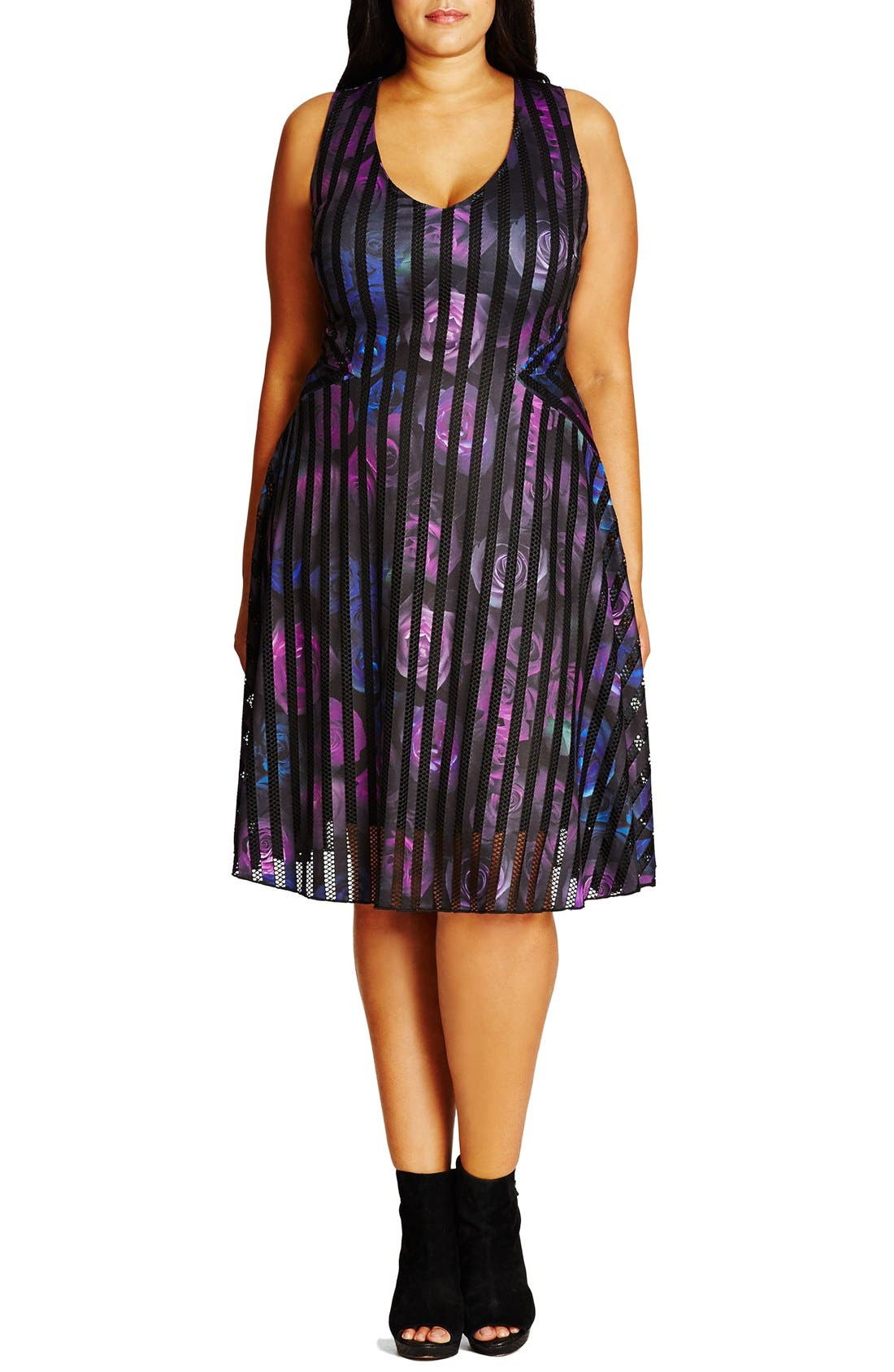 Main Image - City Chic Rose Garden Fit & Flare Dress (Plus Size)