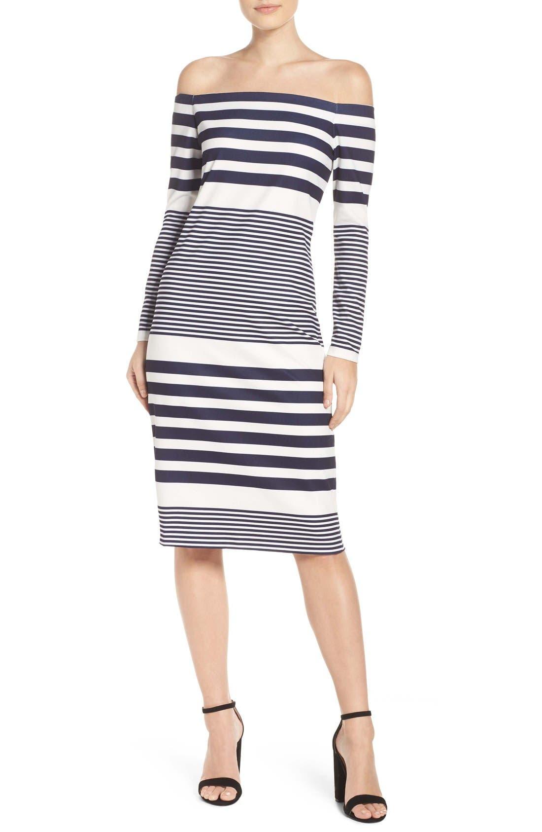 Off the Shoulder Midi Dress,                         Main,                         color, Ivory