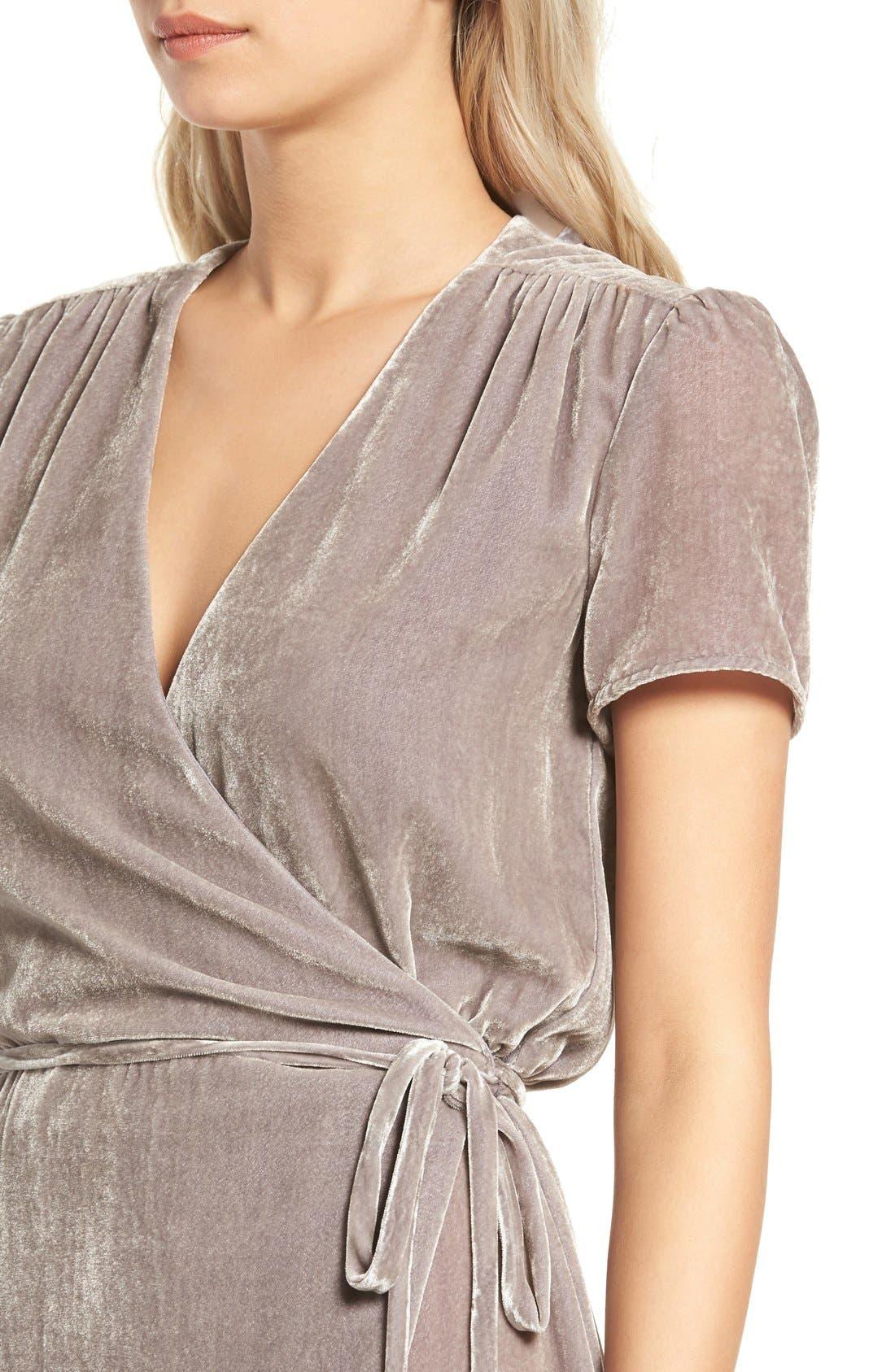Alternate Image 4  - WAYF Next to You Velvet Wrap Dress