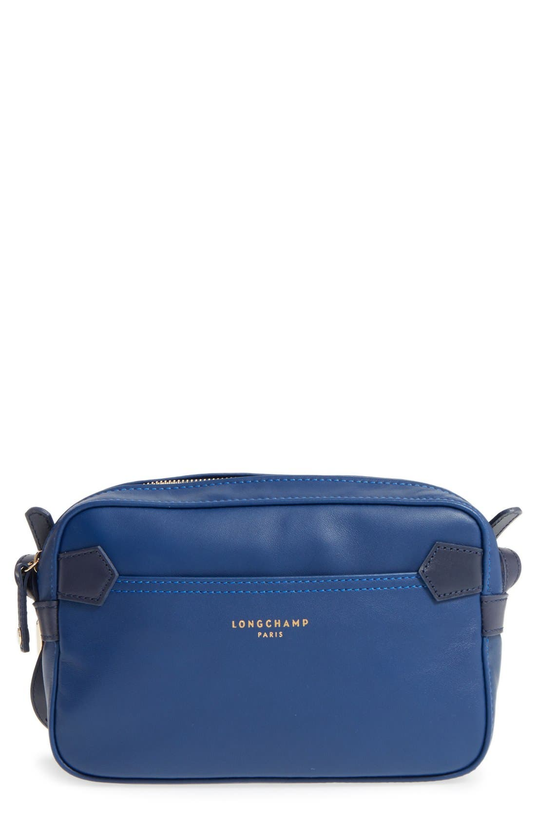 '2.0' Two-Tone Leather Crossbody Bag,                             Main thumbnail 1, color,                             Blue/ Navy