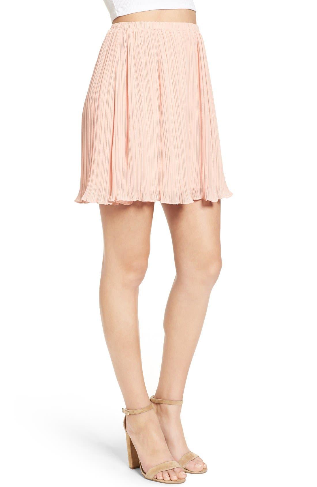 Alternate Image 4  - Lush Pleated Chiffon Miniskirt