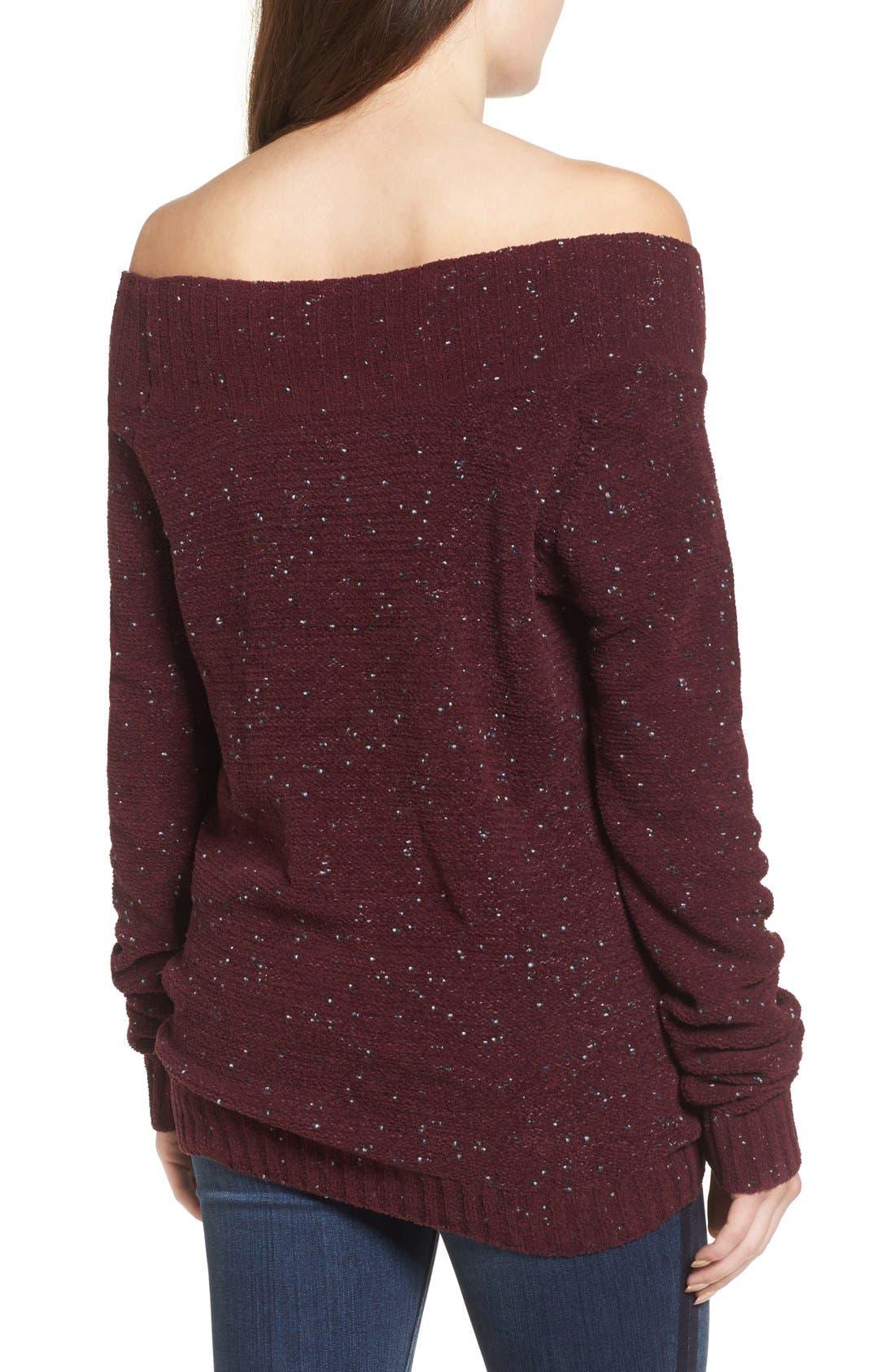 'Marilyn' Sweater,                             Alternate thumbnail 5, color,                             Burgundy Stem Chenille Combo