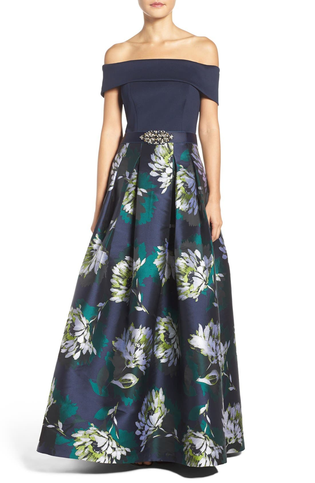 Off the Shoulder Ballgown,                             Main thumbnail 1, color,                             Navy/ Lime