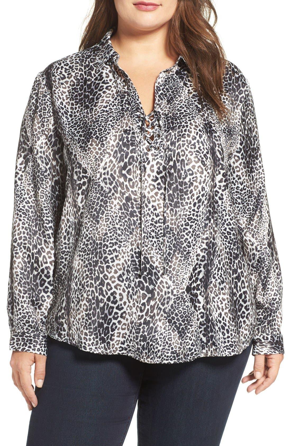 Georgia Lace-Up Blouse,                         Main,                         color, Leopard Overlay