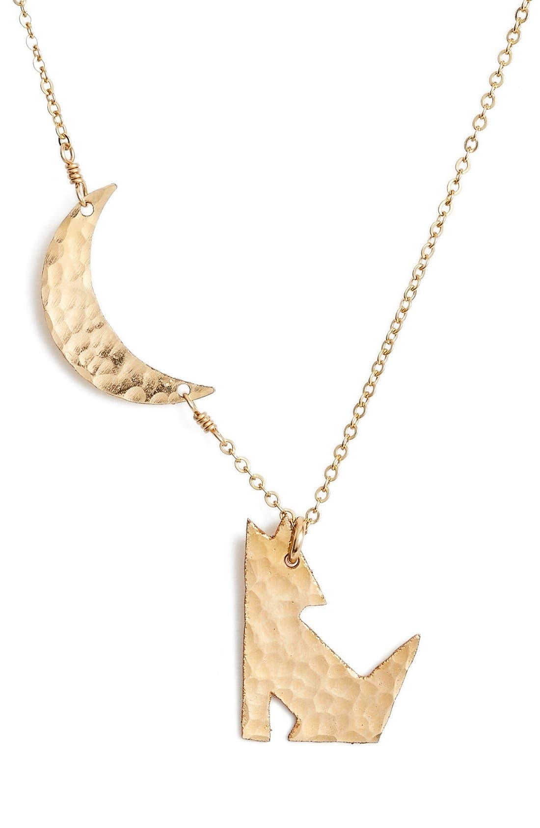 Coyote Pendant Necklace,                         Main,                         color, Gold