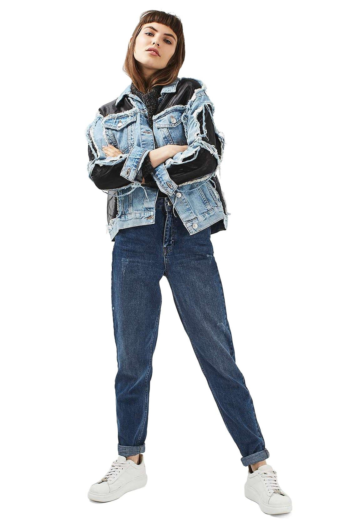 Alternate Image 2  - Topshop Moto Organza Oversized Denim Jacket