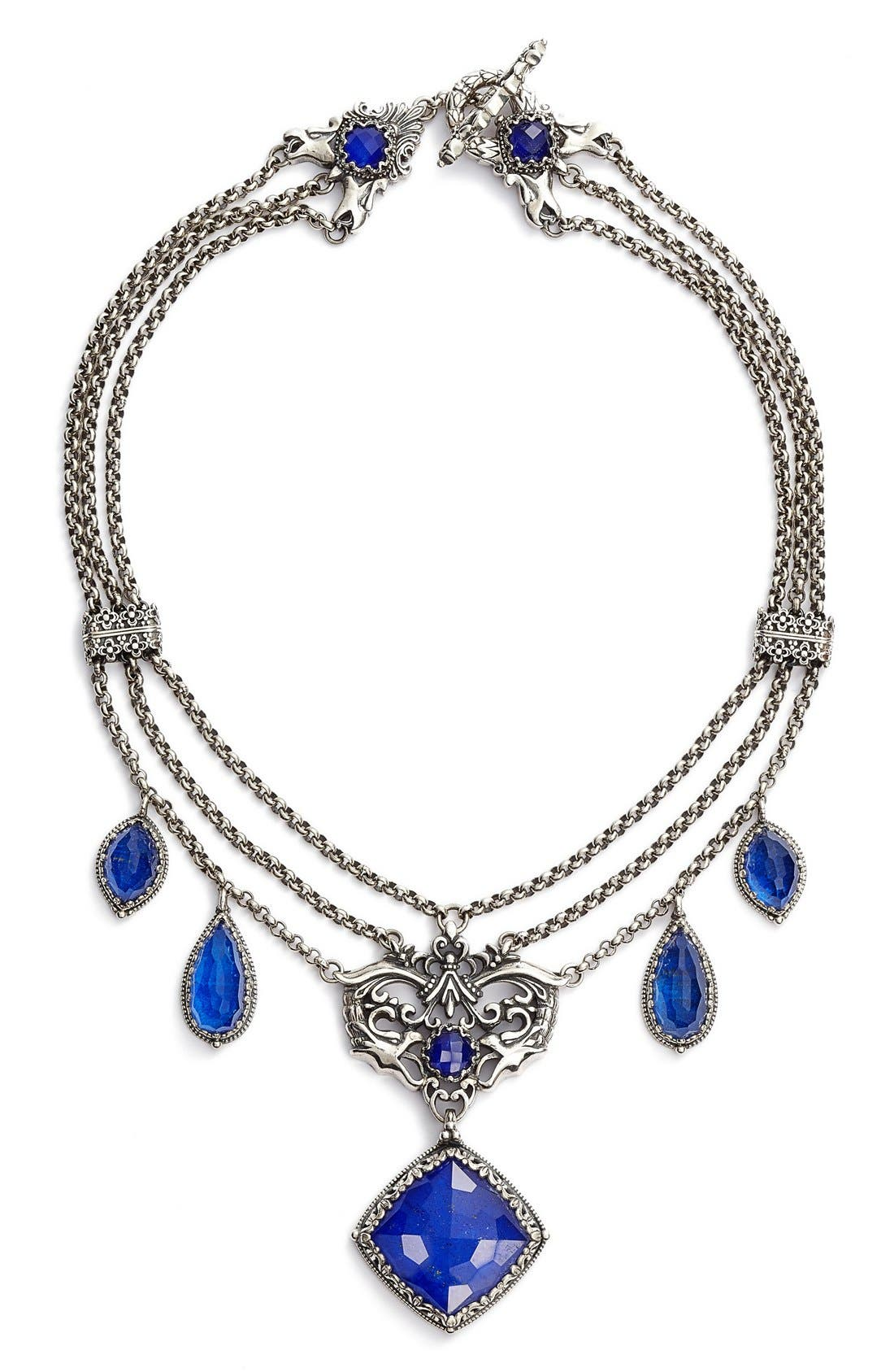 Andromeda Lapis Frontal Necklace,                         Main,                         color, Sterling Silver