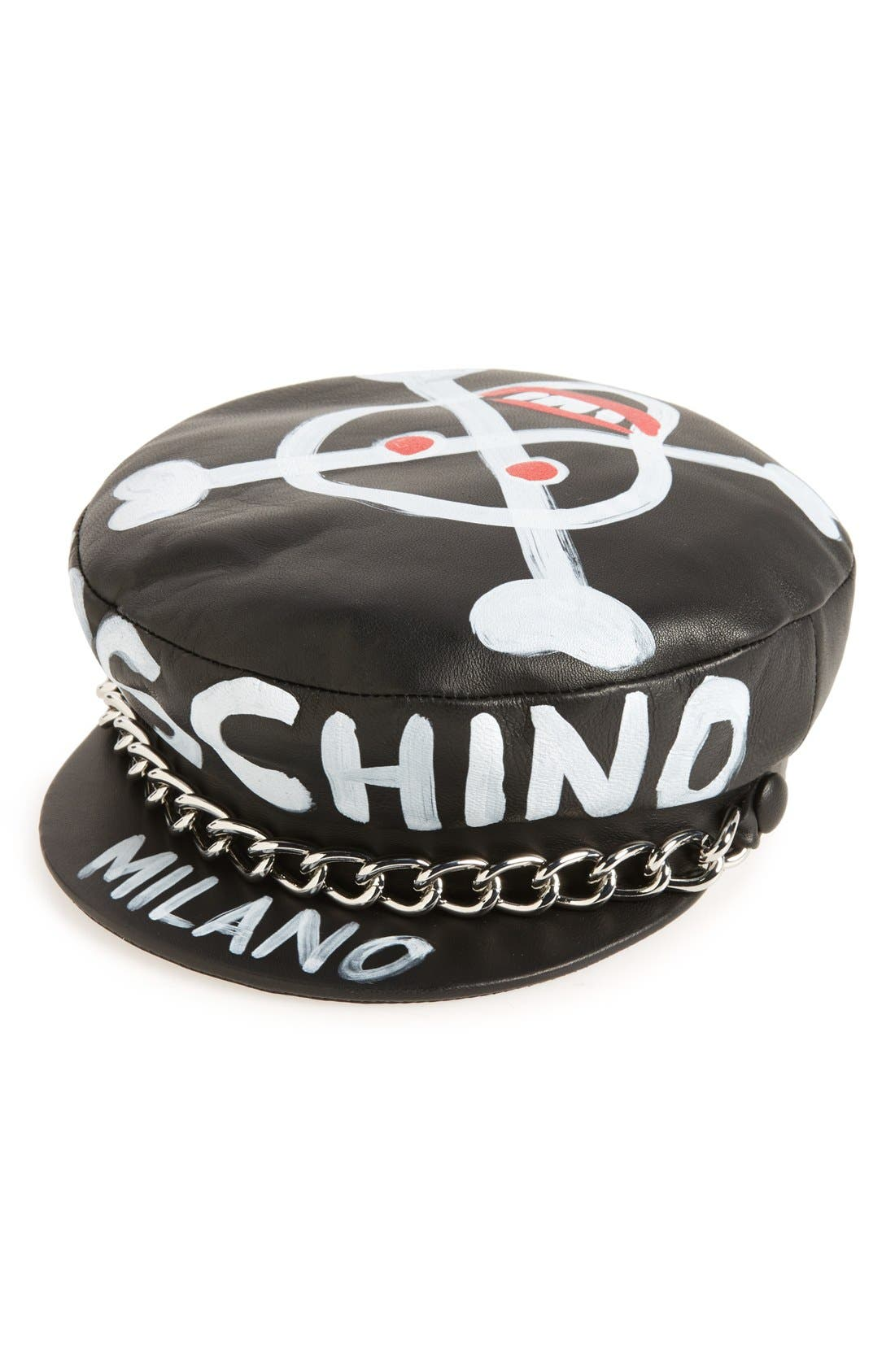 Skulls Leather Cap,                         Main,                         color, Black