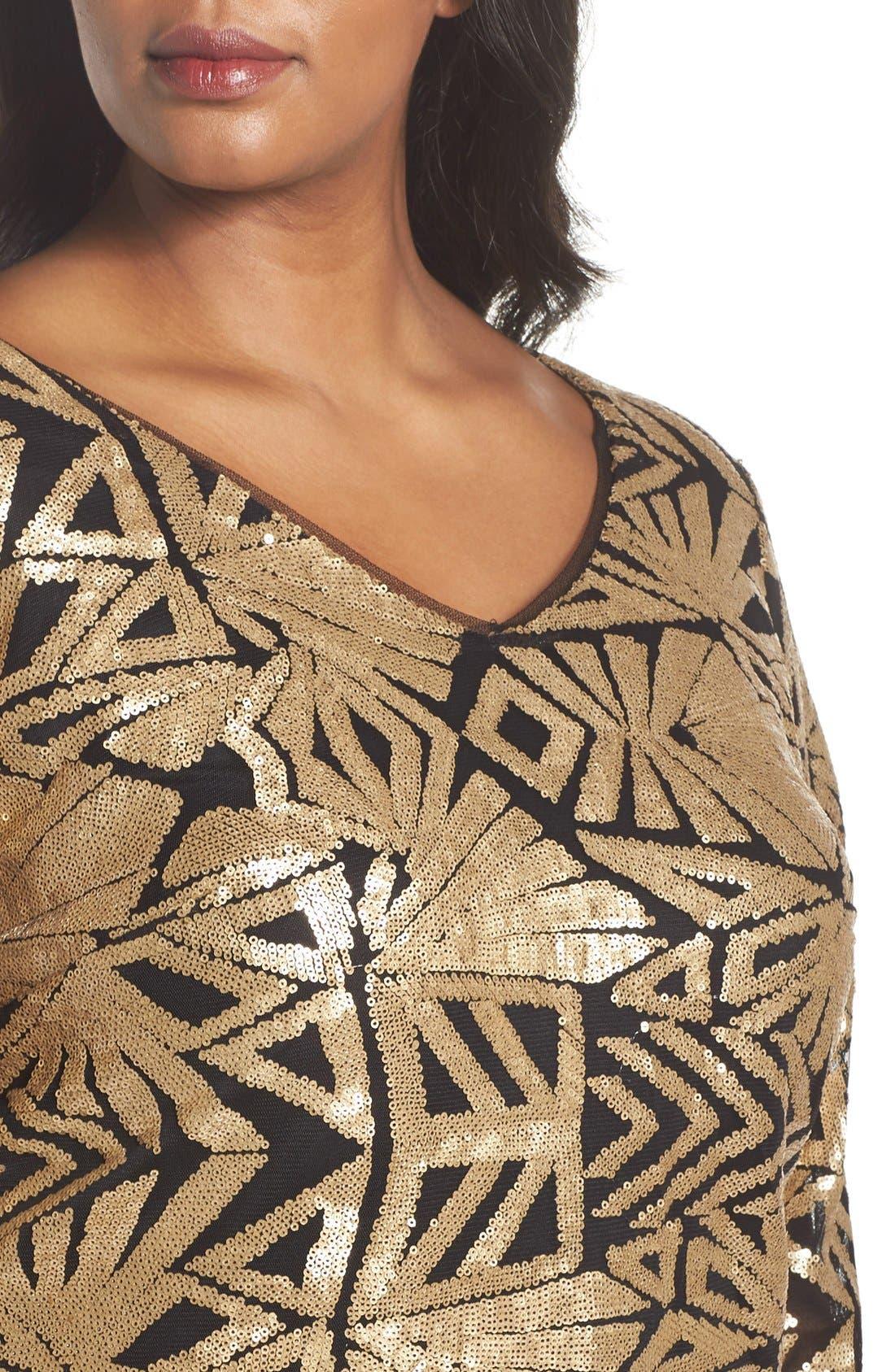 V-Neck Sequin Sheath Dress,                             Alternate thumbnail 4, color,                             Gold
