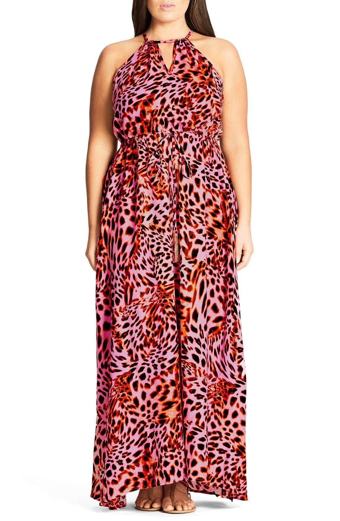 Main Image - City Chic Leopard Drawstring Waist Maxi Dress (Plus Size)