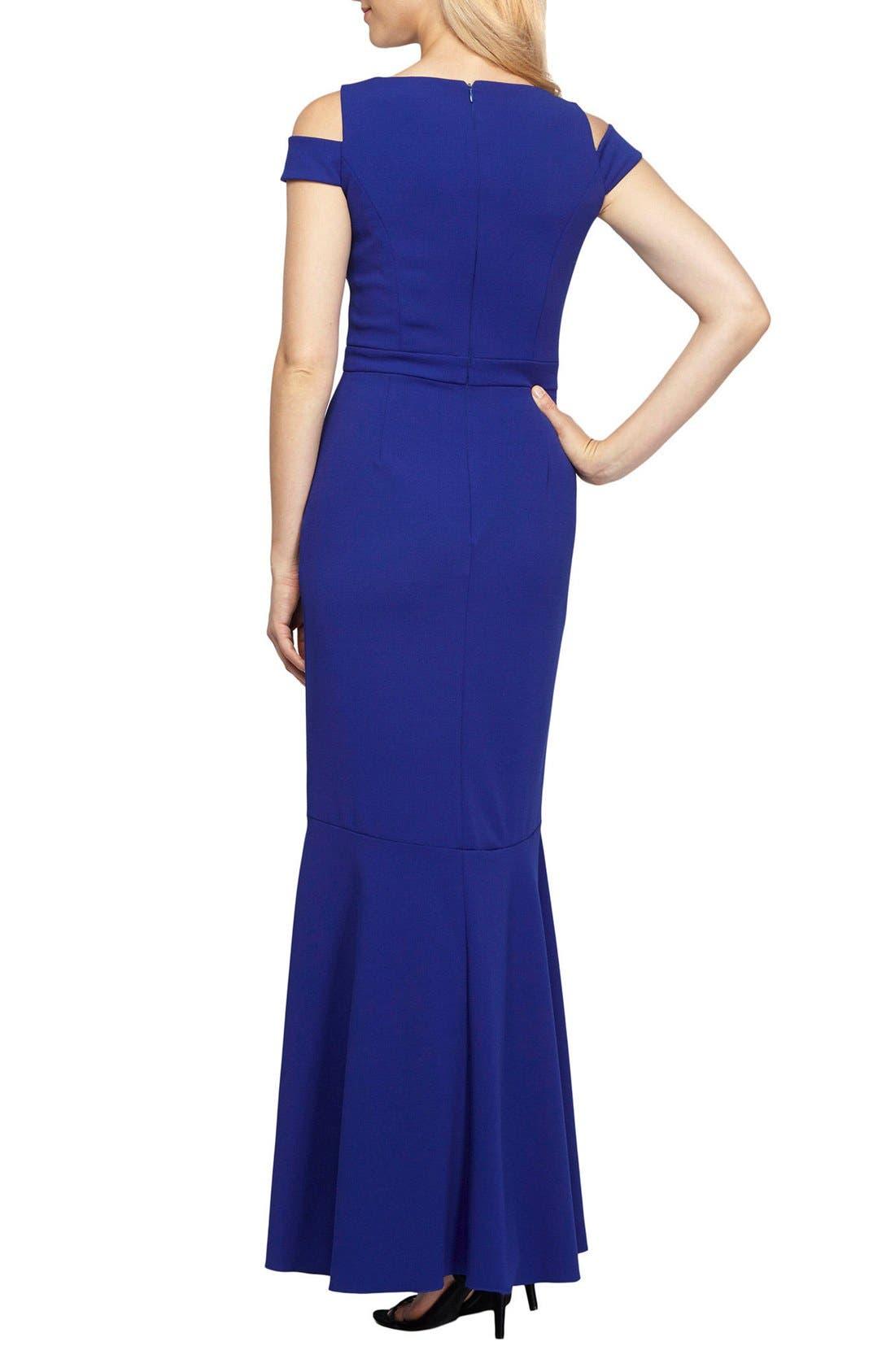 Embellished Cold Shoulder Gown,                             Alternate thumbnail 2, color,                             Bright Royal