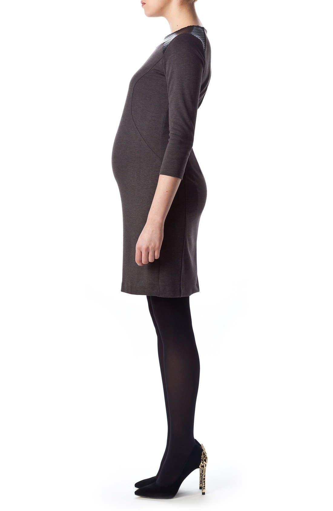 Milano Ponte Dress,                             Alternate thumbnail 3, color,                             Dark Grey Melange/ Black
