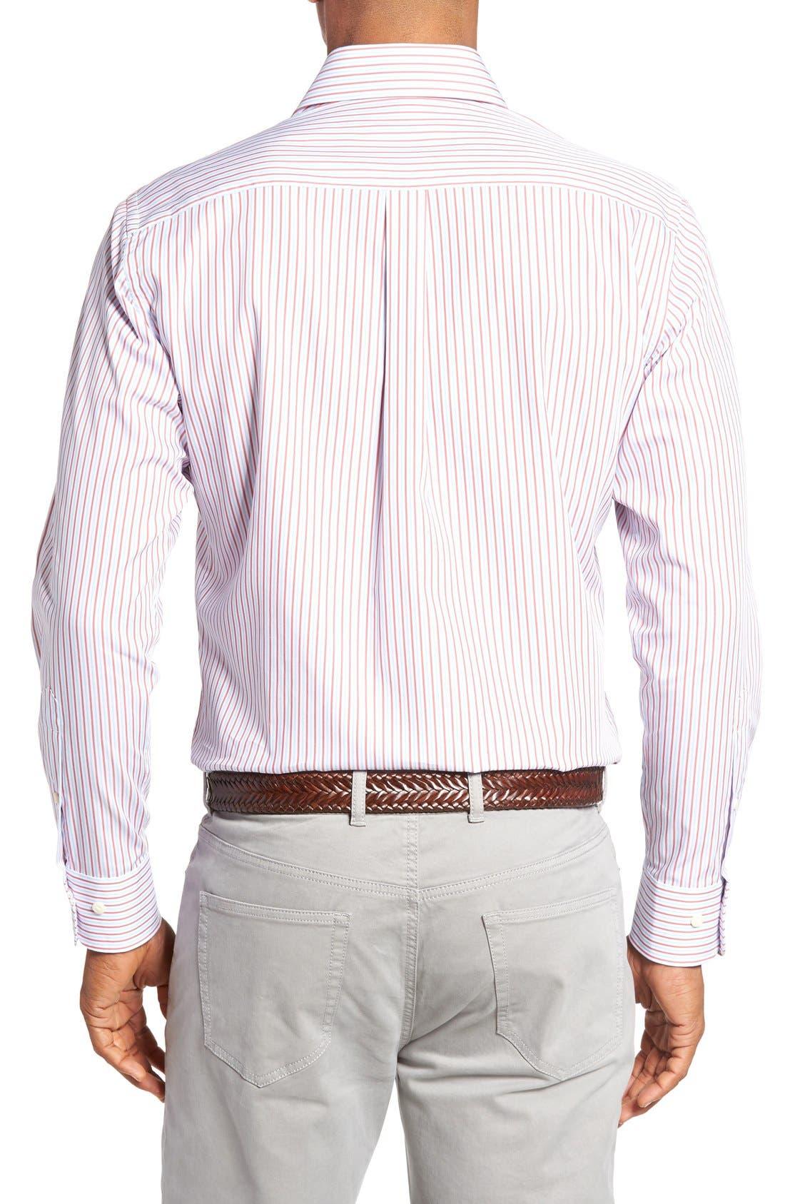 Summer Stripe Regular Fit Sport Shirt,                             Alternate thumbnail 2, color,                             Cape Red