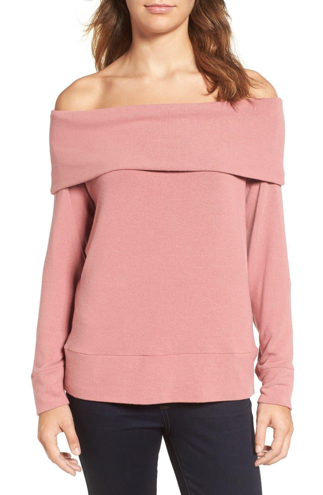'Brooklyn' Off the Shoulder Top,                         Main,                         color, Cashew Pink