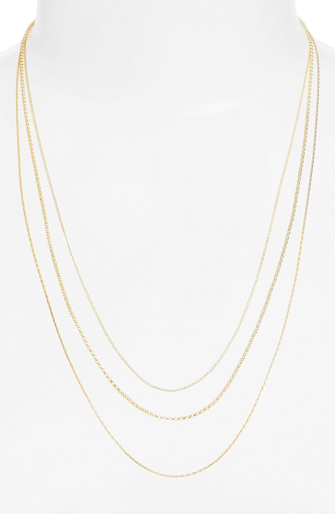 Multistrand Chain Necklace,                         Main,                         color, Gold