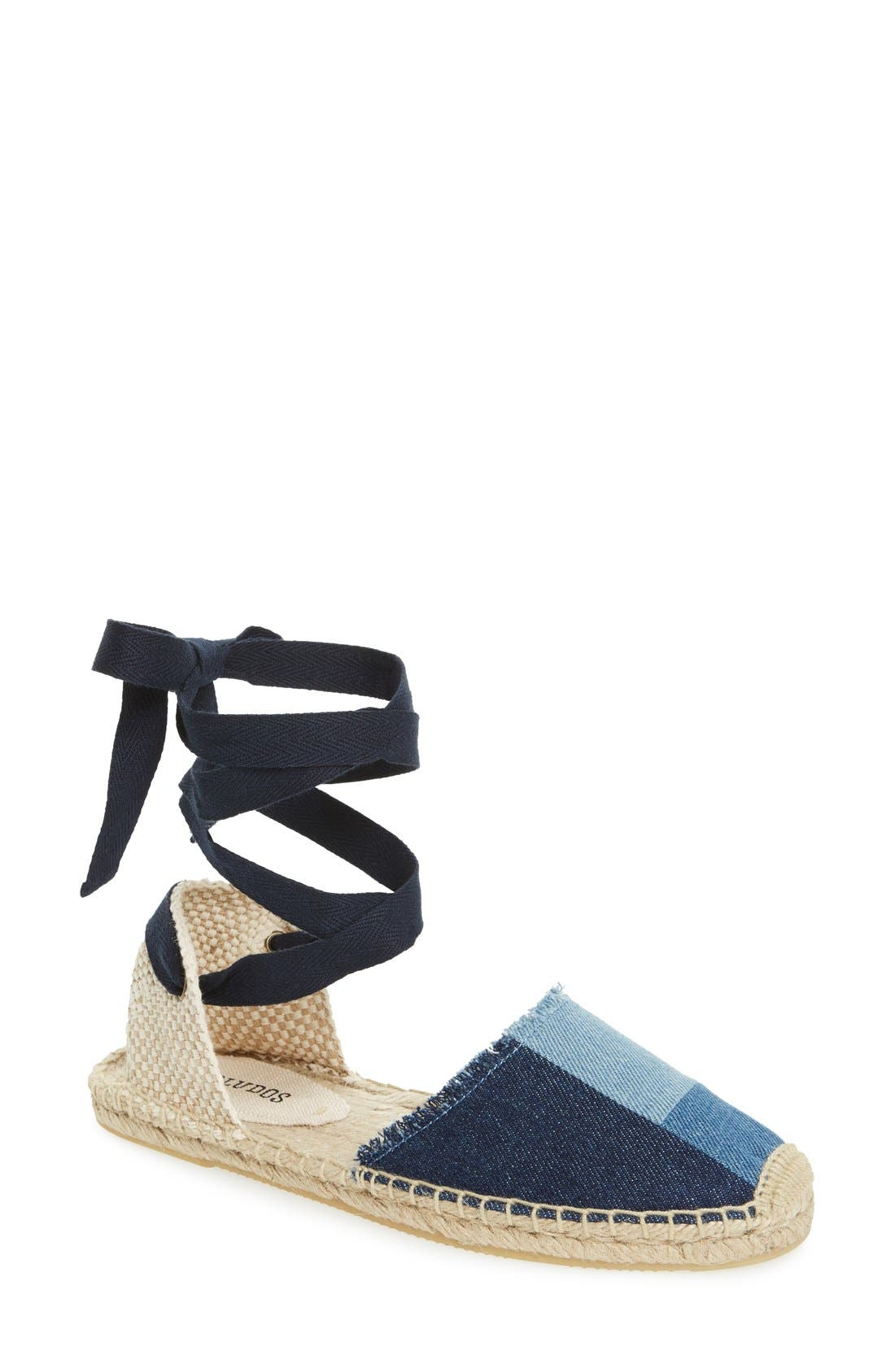 Soludos Patchwork Ankle Wrap Espadrille (Women)