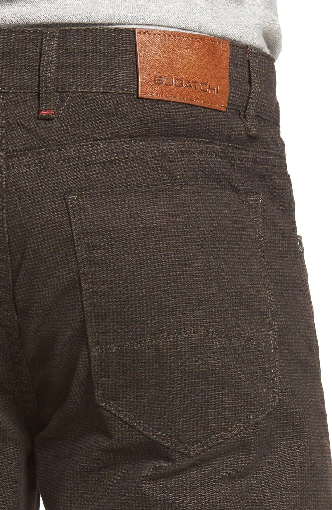 Mini Check Five-Pocket Pants,                             Alternate thumbnail 4, color,                             Truffle