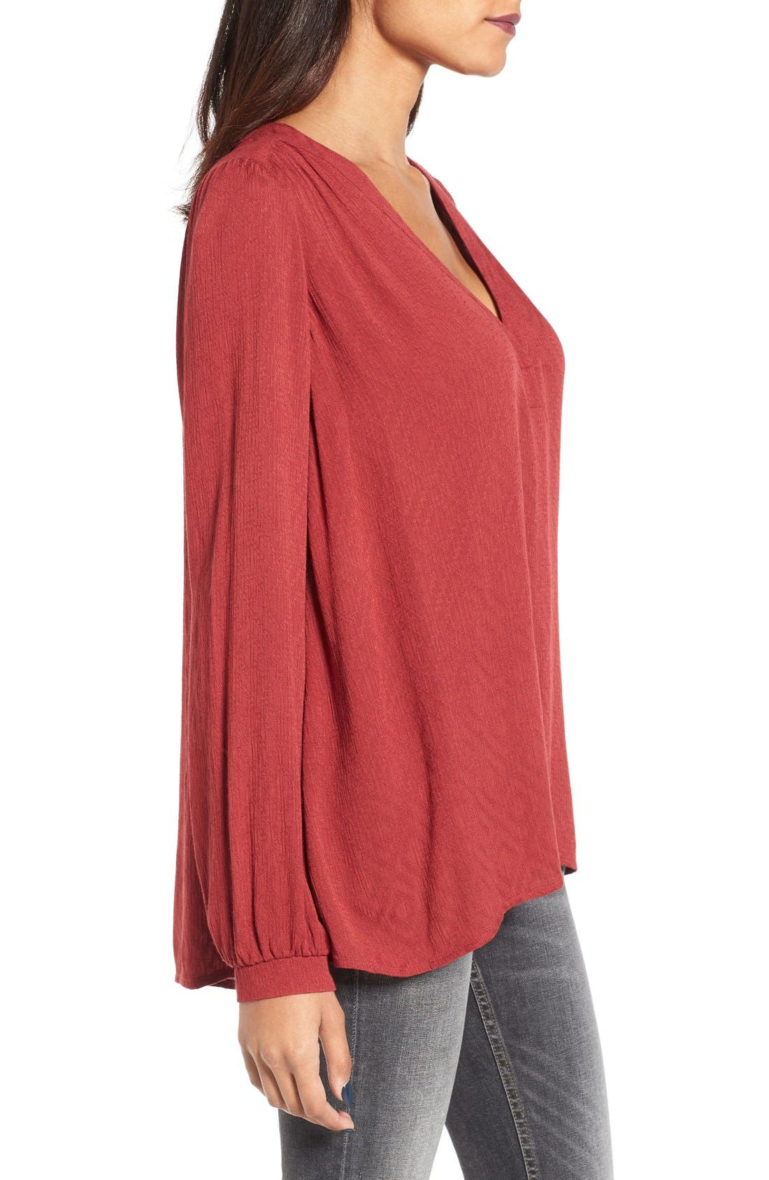 Textured V-Neck Blouse,                             Alternate thumbnail 3, color,                             Brick