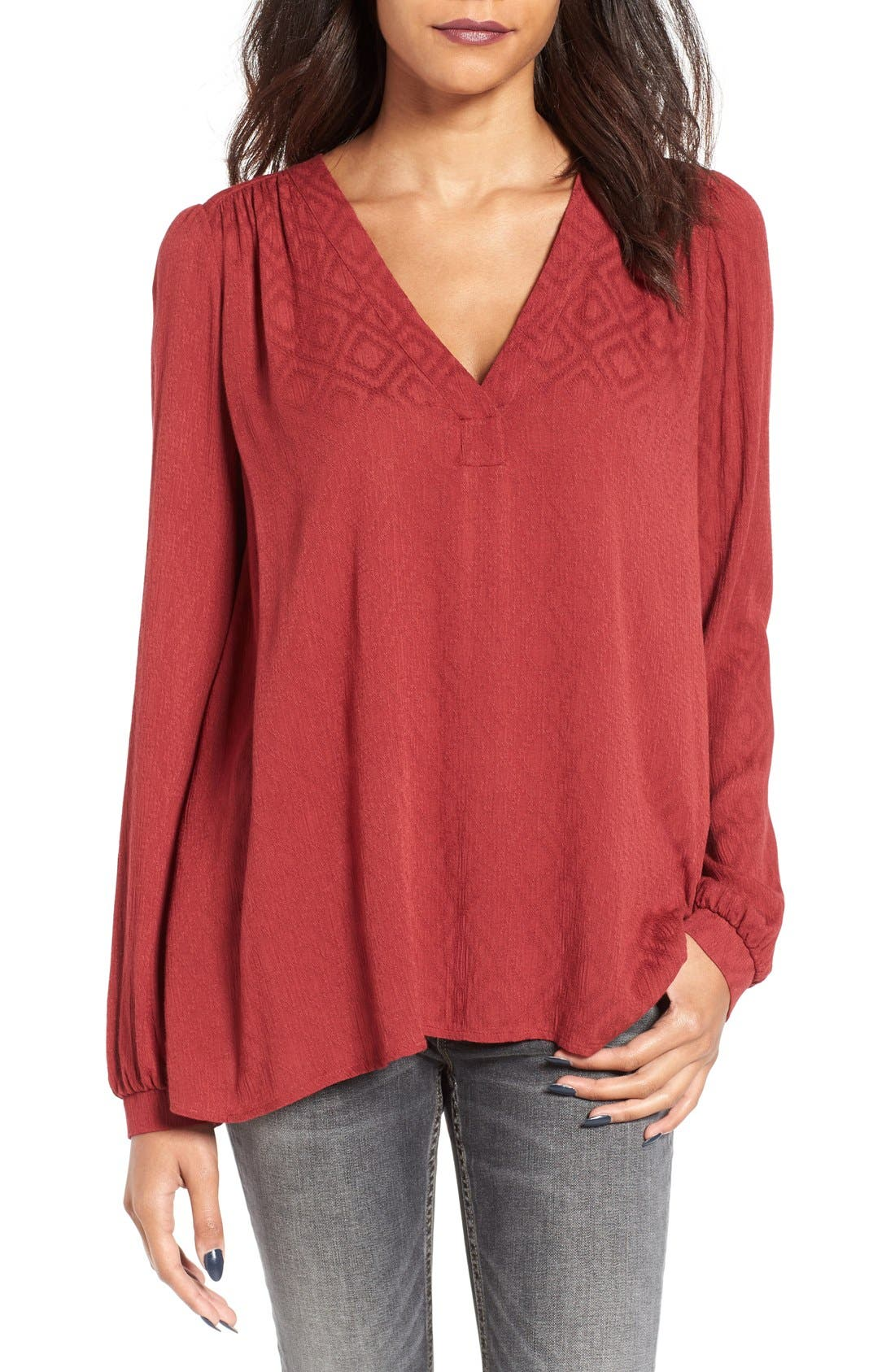 Textured V-Neck Blouse,                             Main thumbnail 1, color,                             Brick