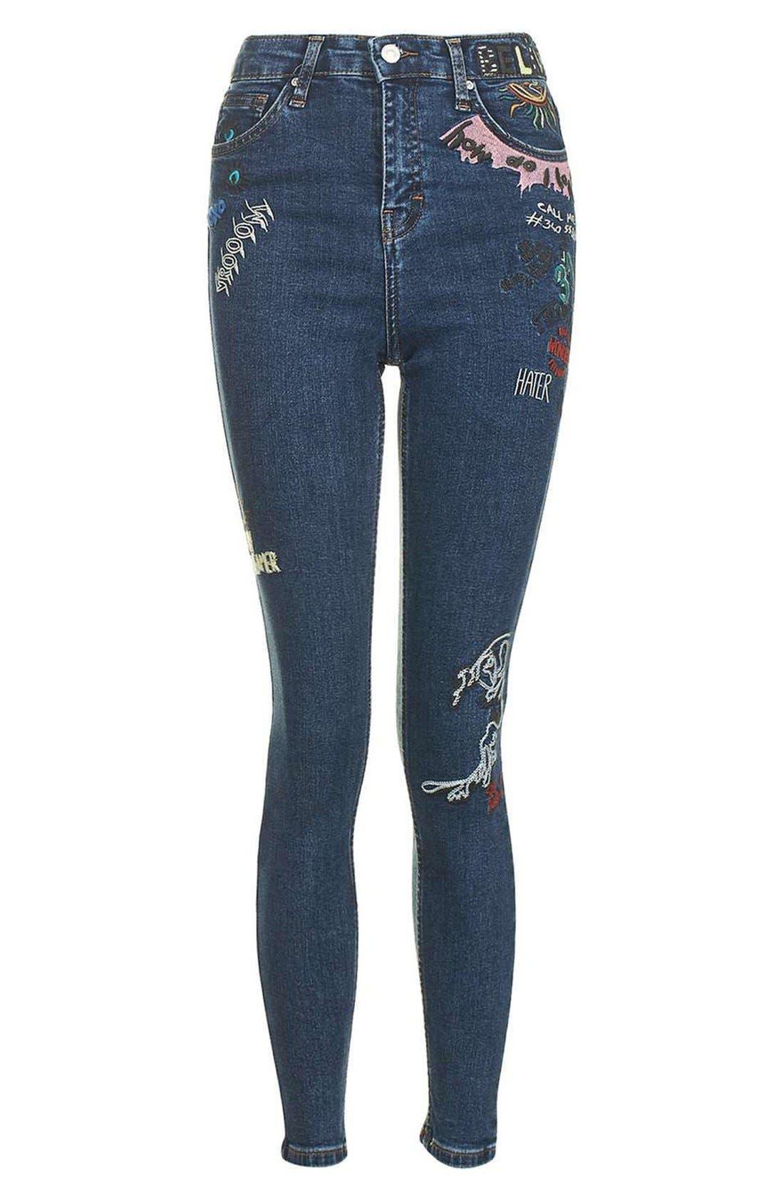 Alternate Image 4  - Topshop Jamie Scribble High Rise Skinny Jeans