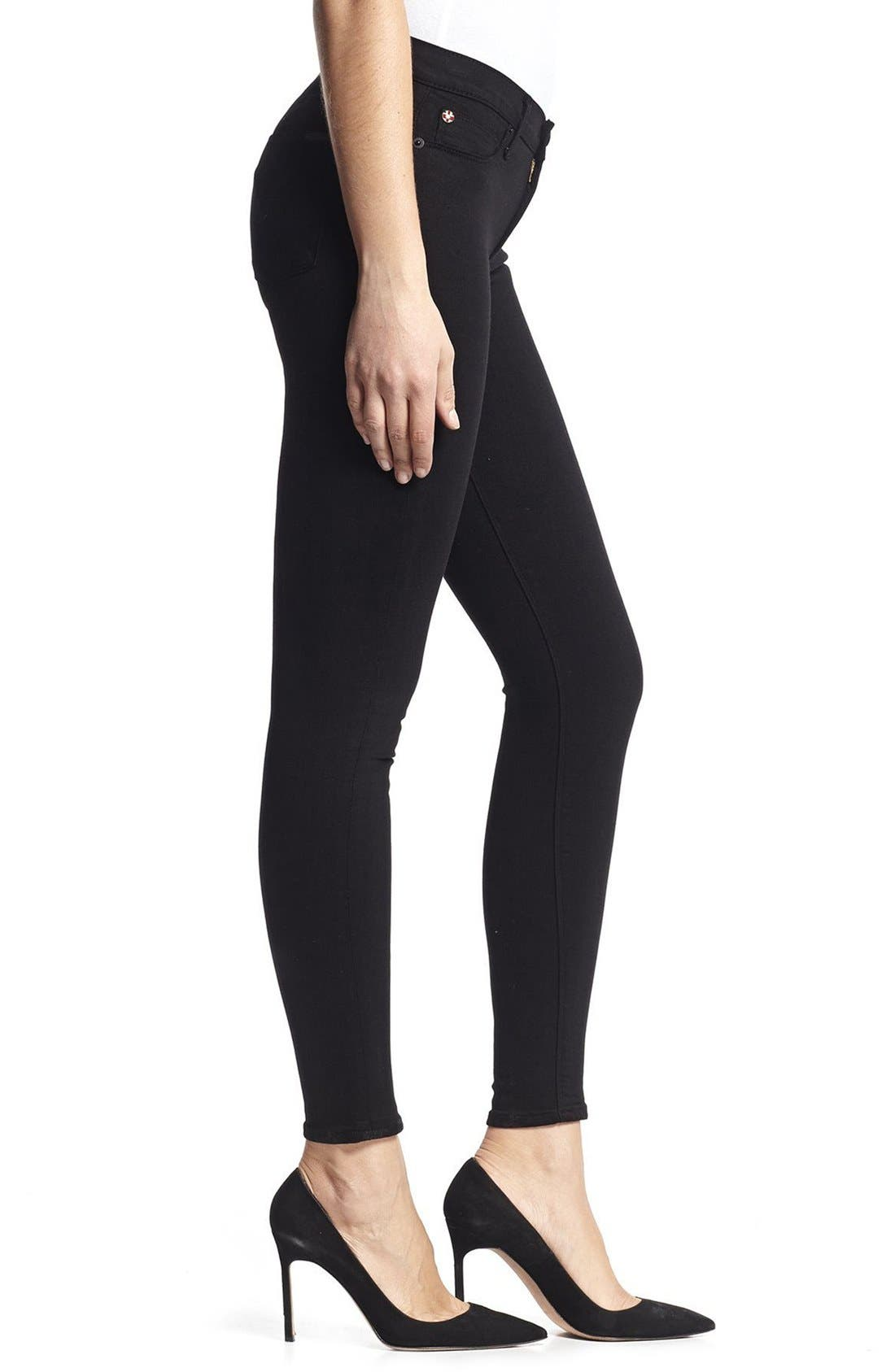 HudsonJeans Nico Super Skinny Jeans,                             Alternate thumbnail 3, color,                             Black
