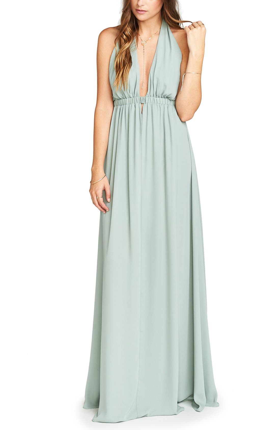 Luna Halter Gown,                             Main thumbnail 1, color,                             Silver Sage