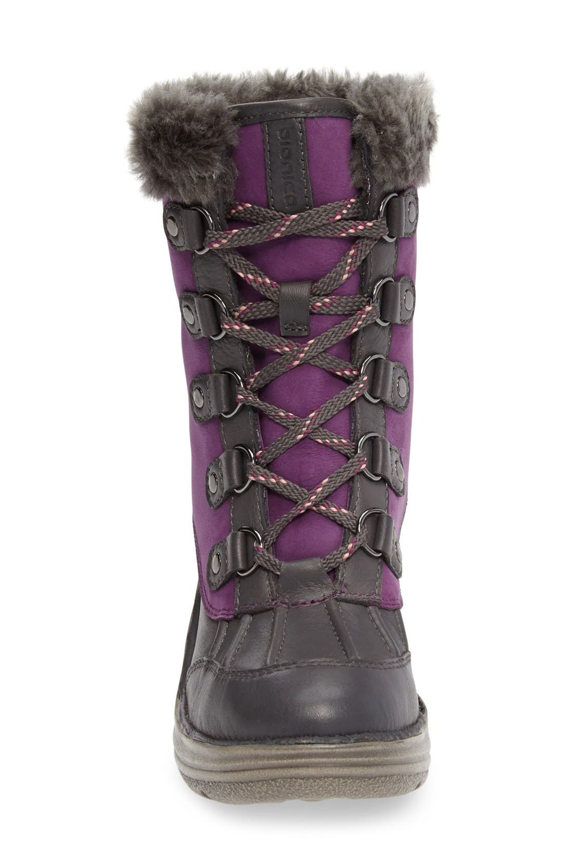 Rosemound Waterproof Boot,                             Alternate thumbnail 3, color,                             Purple/ Pewter Leather