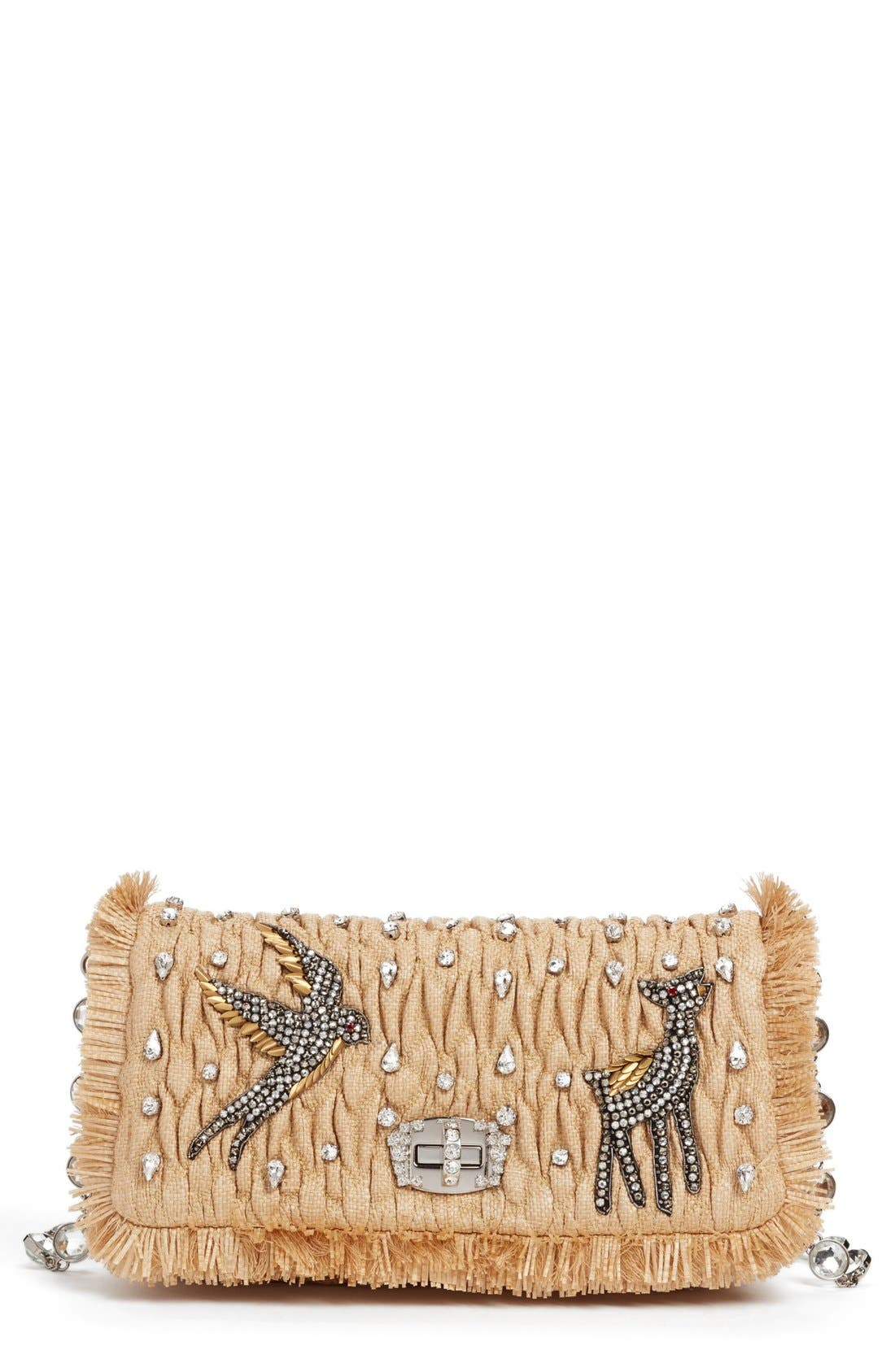 Main Image - Miu Miu Paglia Straw Shoulder Bag