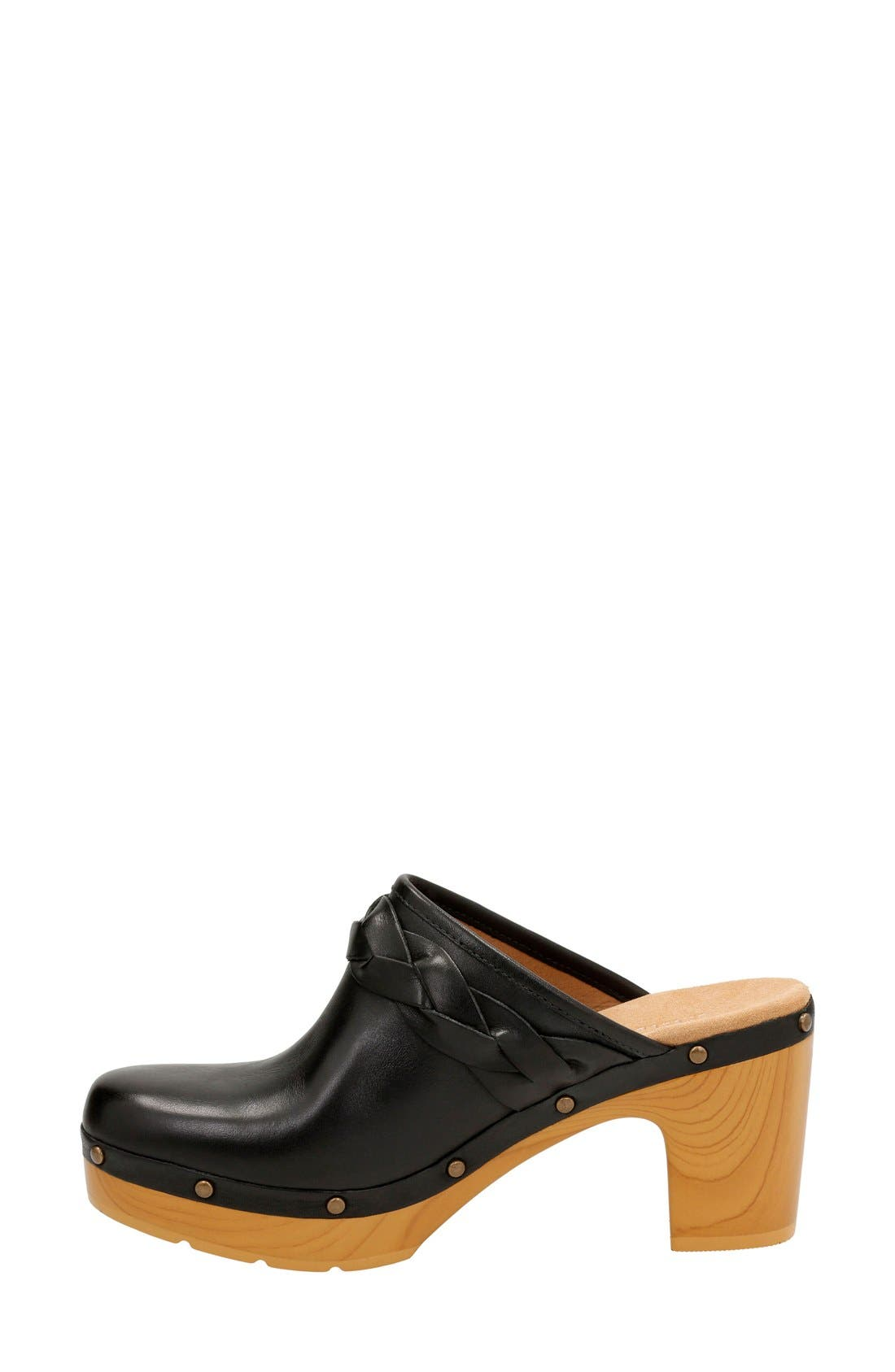 Ledella Meg Platform Clog,                             Alternate thumbnail 2, color,                             Black Leather