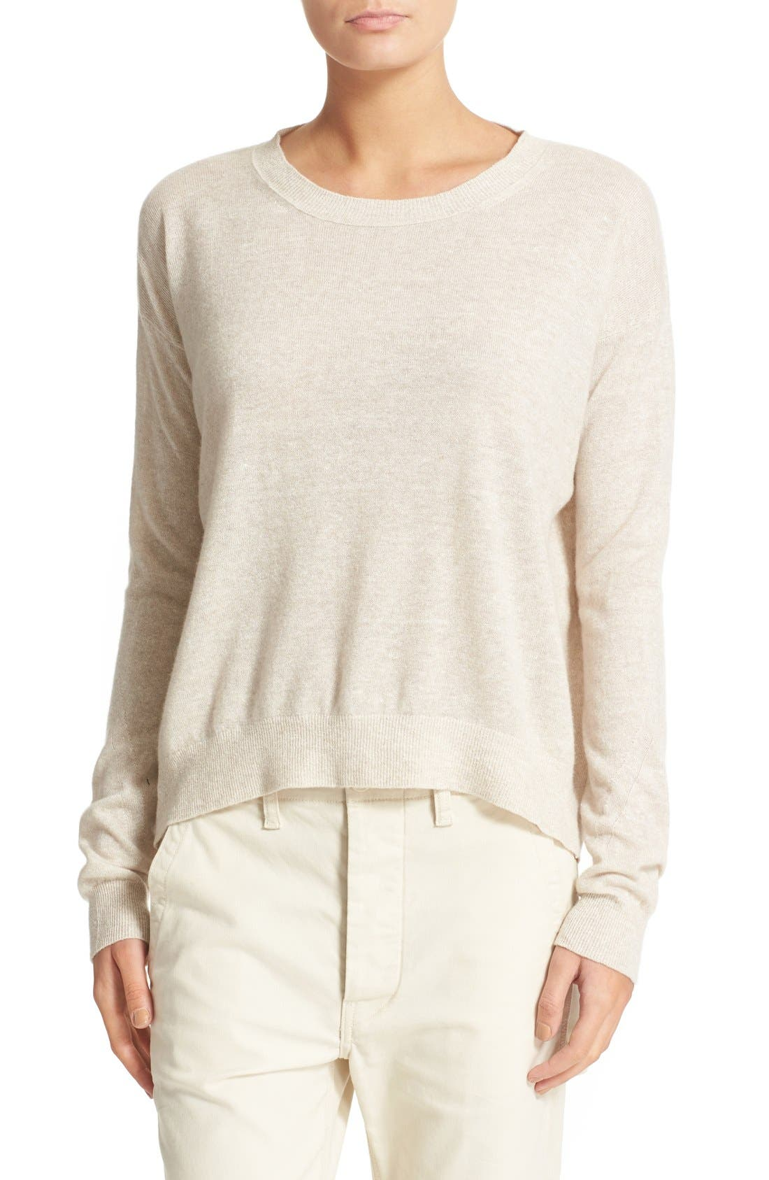 Linen & Cashmere Pullover,                         Main,                         color, Heather Tan