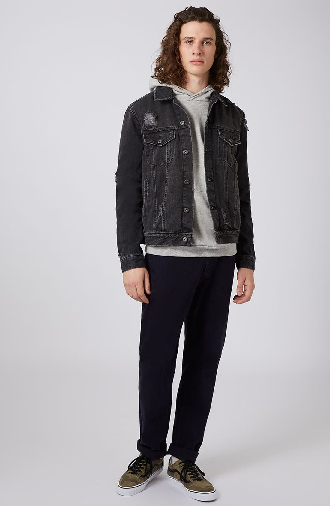 Alternate Image 2  - Topman Distressed Denim Jacket