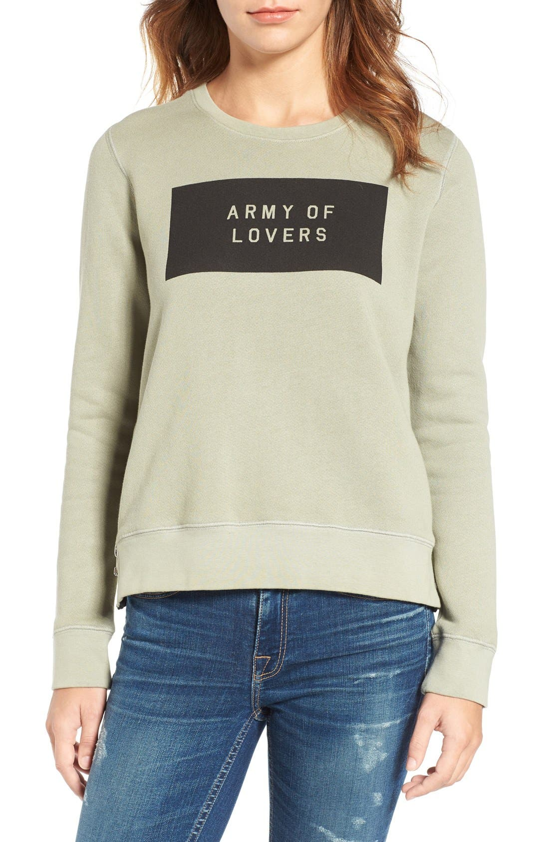 Army of Lovers Side Zip Sweatshirt,                             Main thumbnail 1, color,                             Army