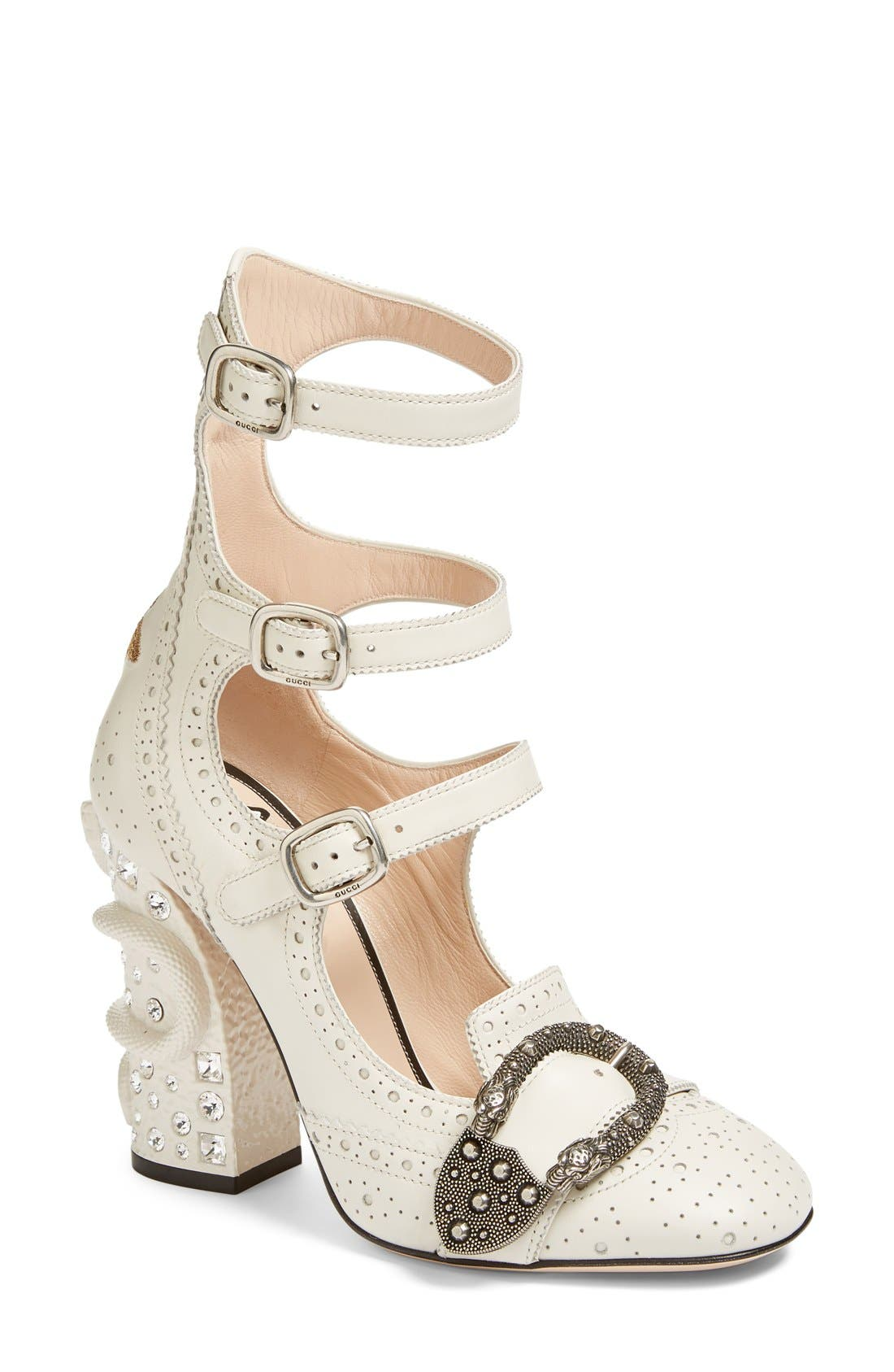 Alternate Image 1 Selected - Gucci Queercore Embellished Gladiator Pump (Women)