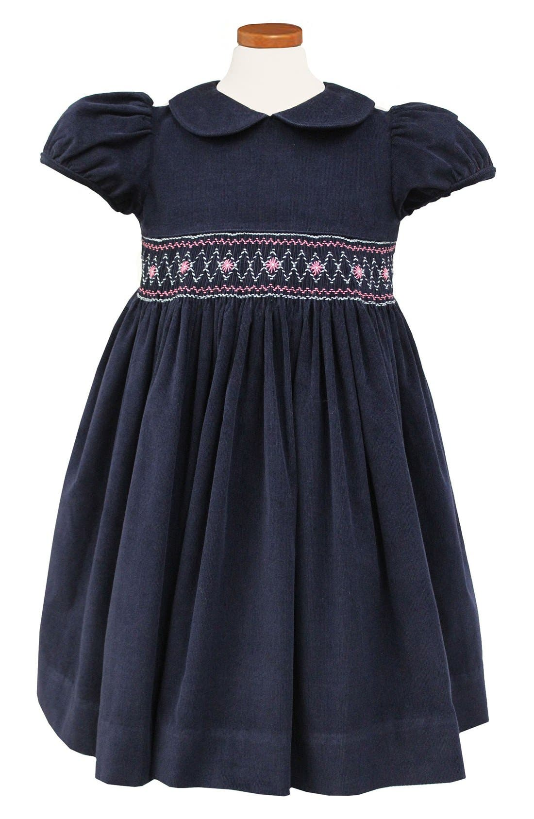 Embroidered Smocked Waist Dress,                             Main thumbnail 1, color,                             Navy