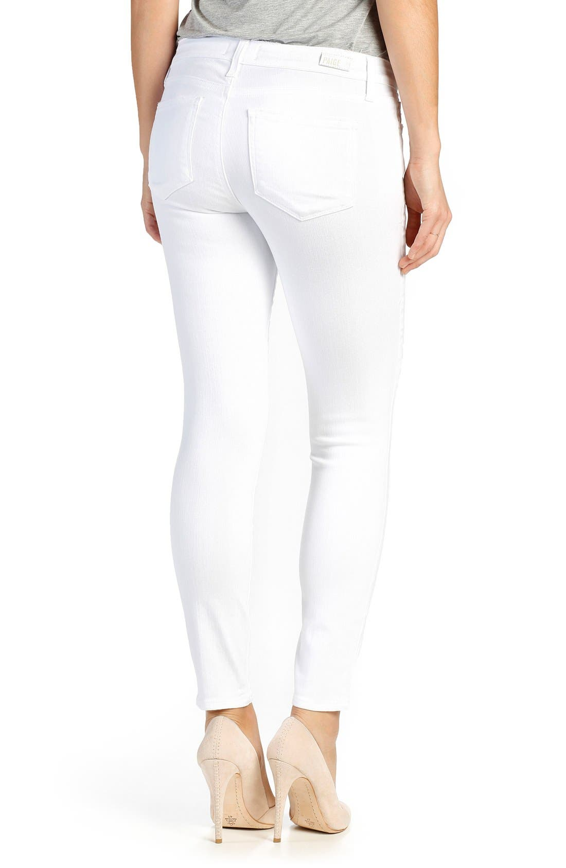 Alternate Image 2  - PAIGE Verdugo Ankle Skinny Jeans (Distressed Ultra White)
