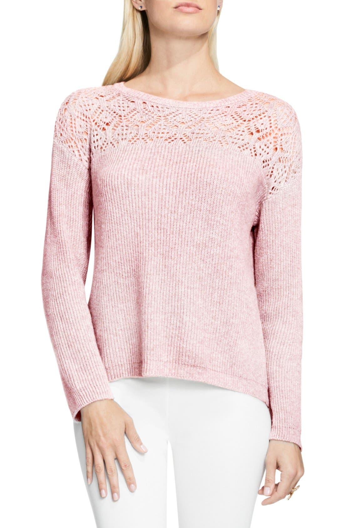 Alternate Image 1 Selected - Vince Camuto Pointelle Yoke Sweater (Regular & Petite)