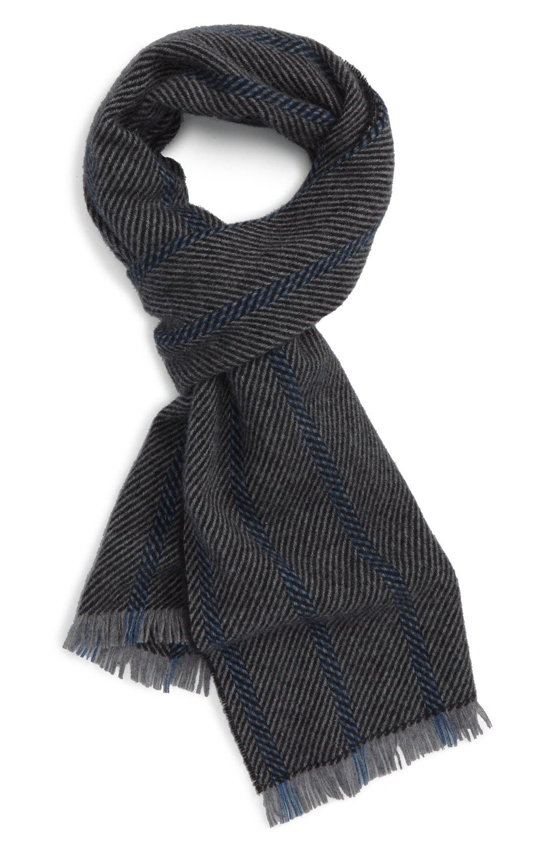 Stripe Cashmere Scarf,                             Main thumbnail 1, color,                             Black/ Grey/ Cobalt