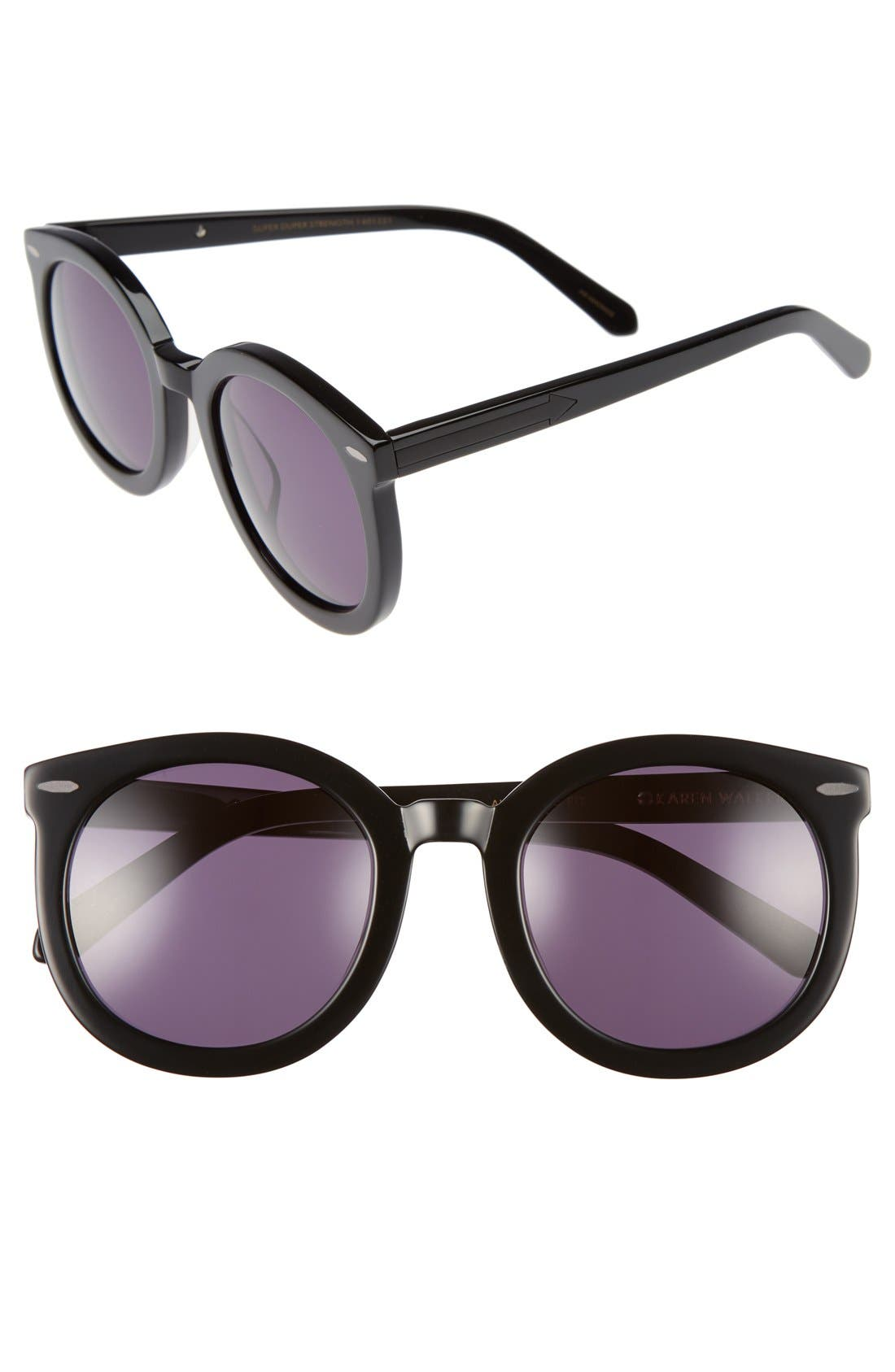 Alternative Fit Super Duper 59mm Sunglasses,                             Main thumbnail 1, color,                             Black